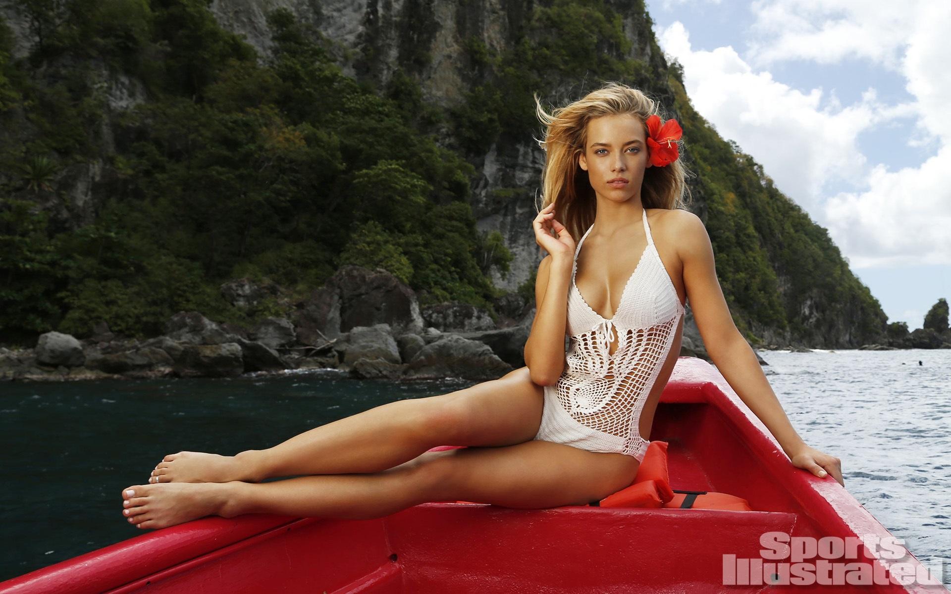 Wallpaper Hannah Ferguson Blonde Model Bikini Long Hair