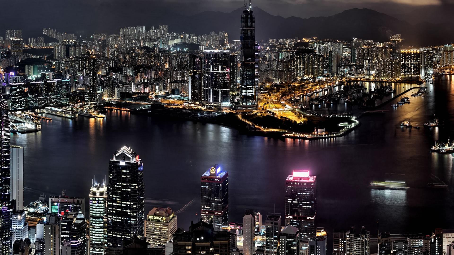 Wallpaper Hong Kong High Rise Buildings River Bank 1920x1080