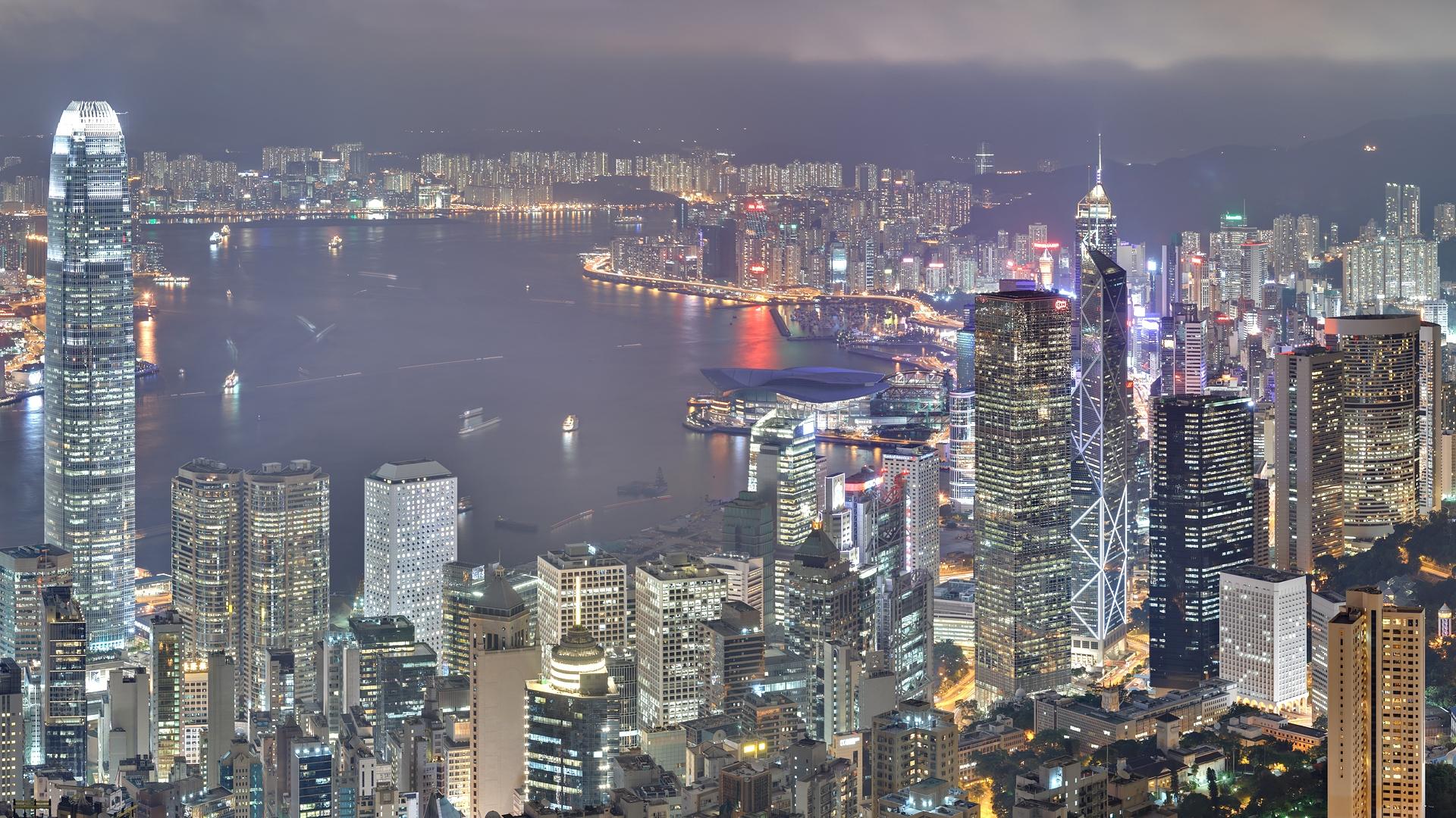 Wallpaper Hong Kong Skyscrapers Night Light Building 1920x1080