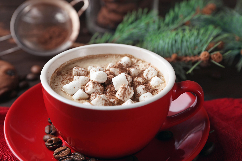 デスクトップ壁紙 熱いココア マシュマロウ コーヒー豆 カップ
