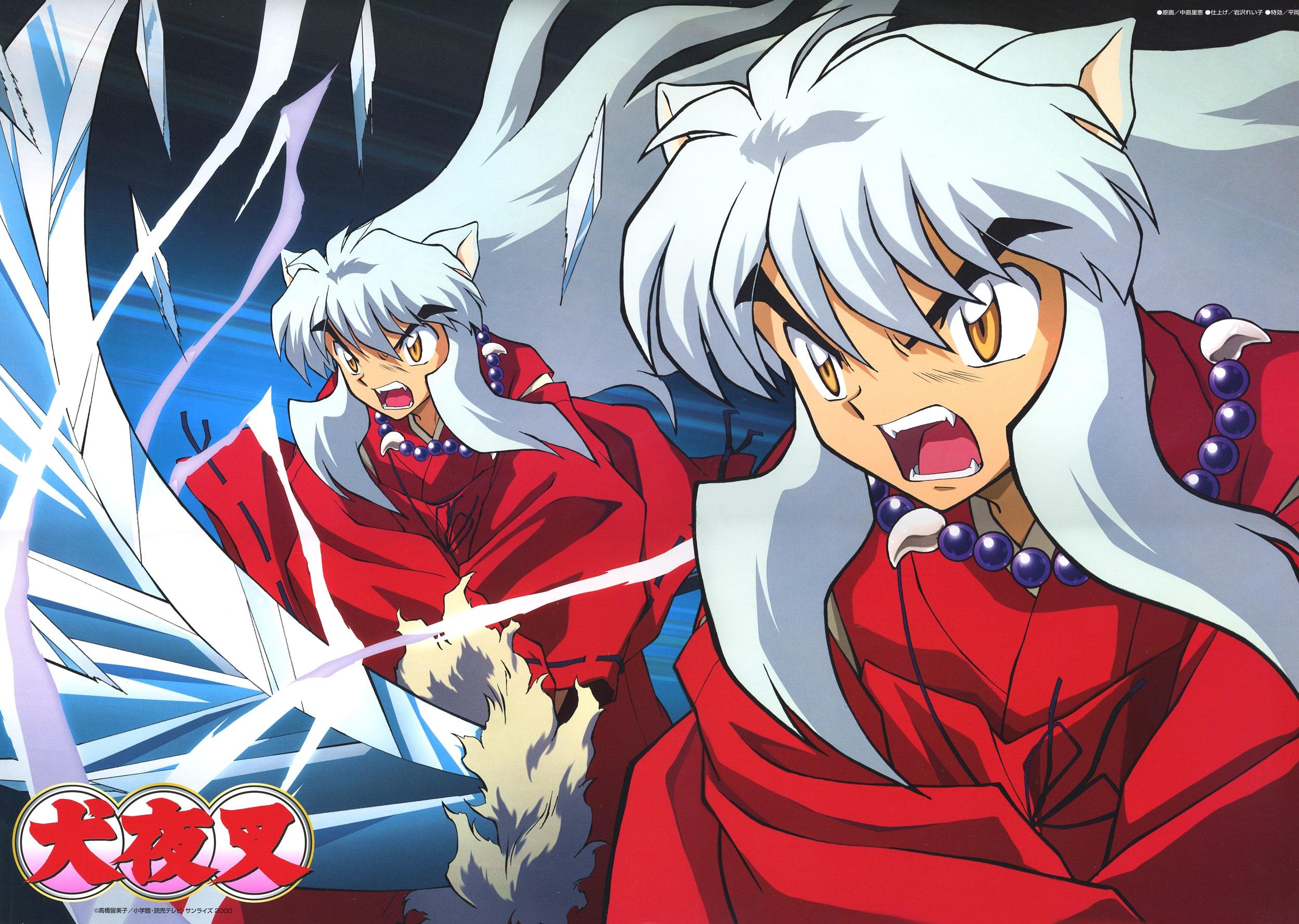 Wallpaper Inuyasha Girl Ears Scream Kick Sword 2500x1779