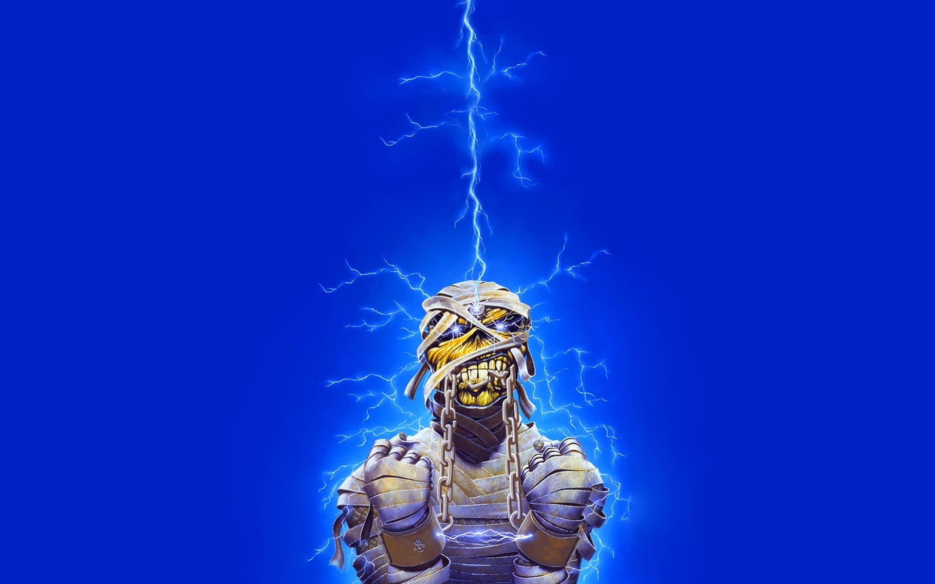Wallpaper Iron Maiden Undead Lightning Energy Light