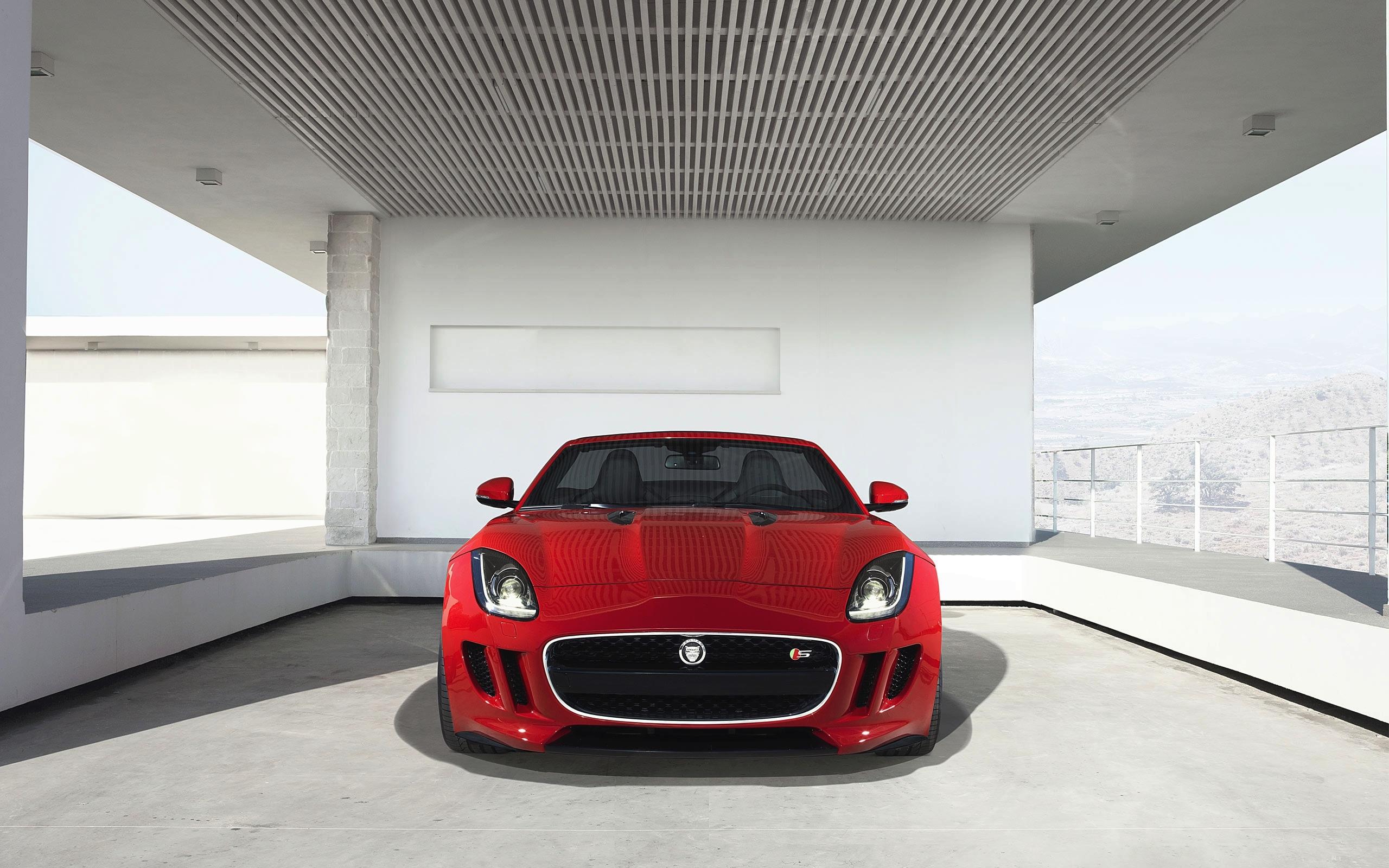 Wallpaper Jaguar F Type Red Front View 2560x1600