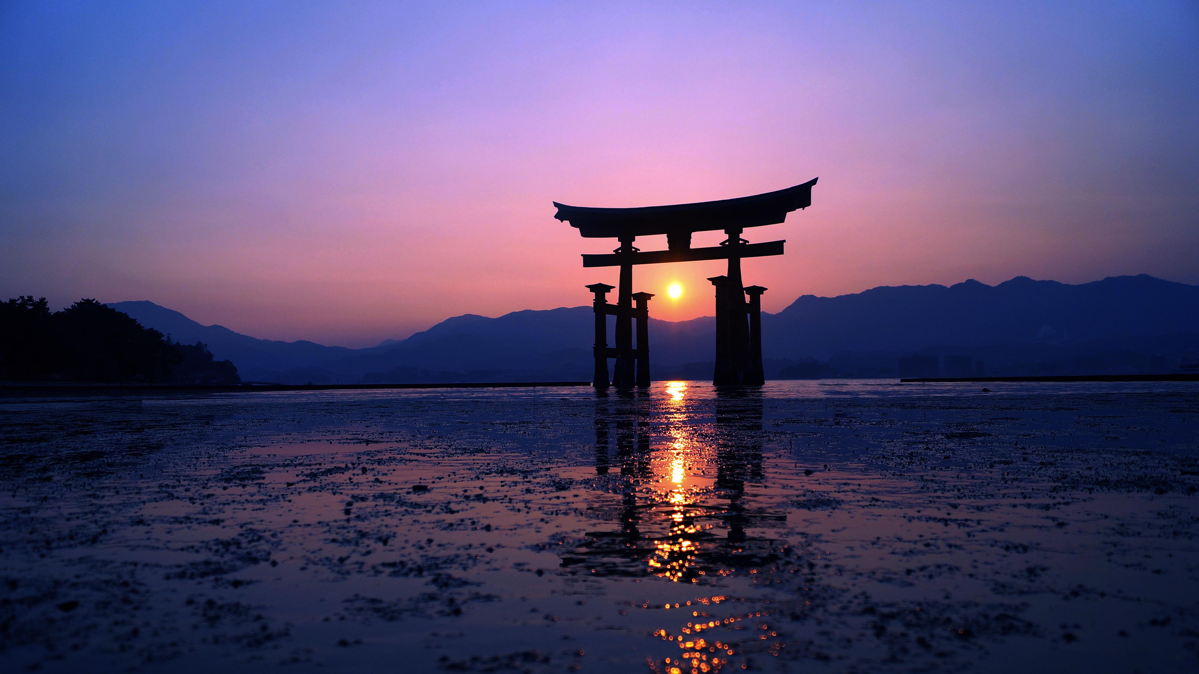 Fond d'écran : Japon, Sony, Norvège, Horten, Porte tori, Tori, le coucher du soleil, Soleil ...
