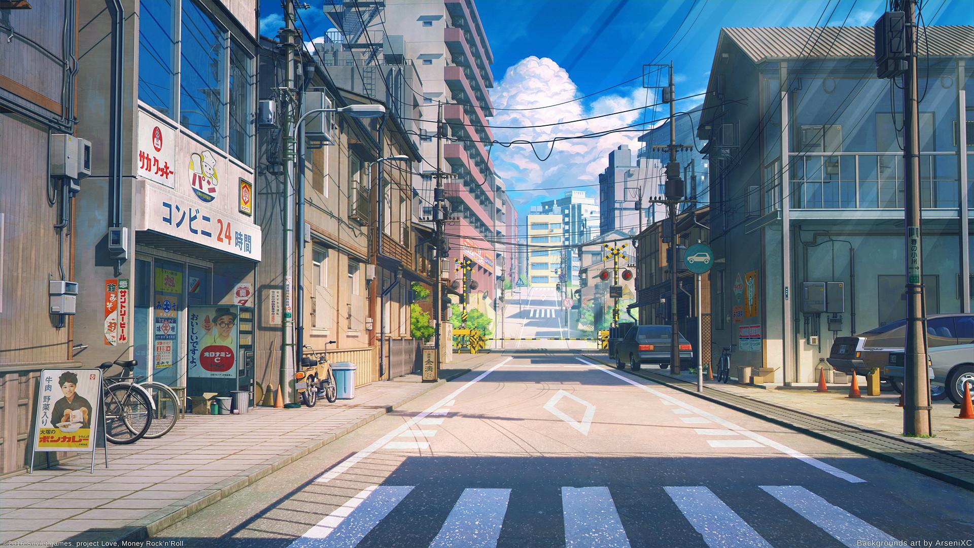 Wallpaper japan tokyo street building bicycle crosswalk digital art house sign clouds - Hd wallpapers 10000x10000 ...