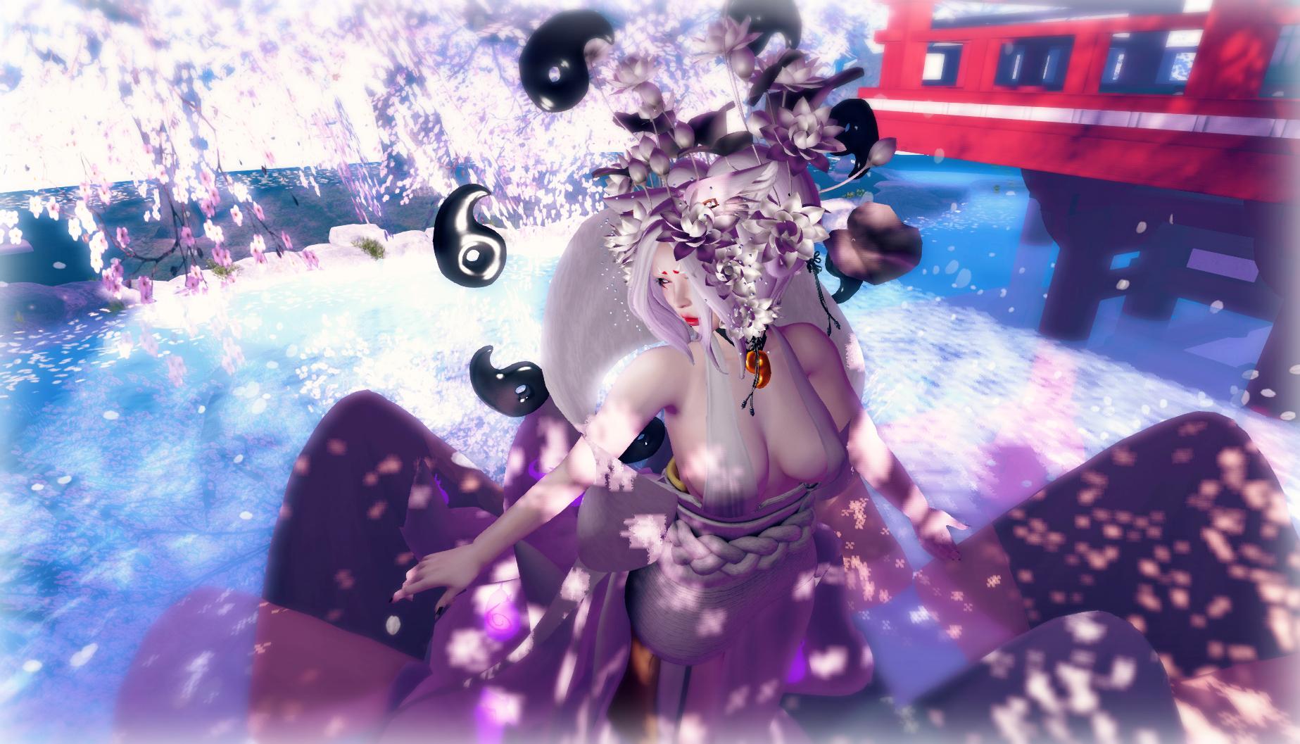 Japan Anime Purple Fashion World Kimono Lotus ART Girl Fun Secondlife Fantasy Aii Naminoke Chouchou Computer