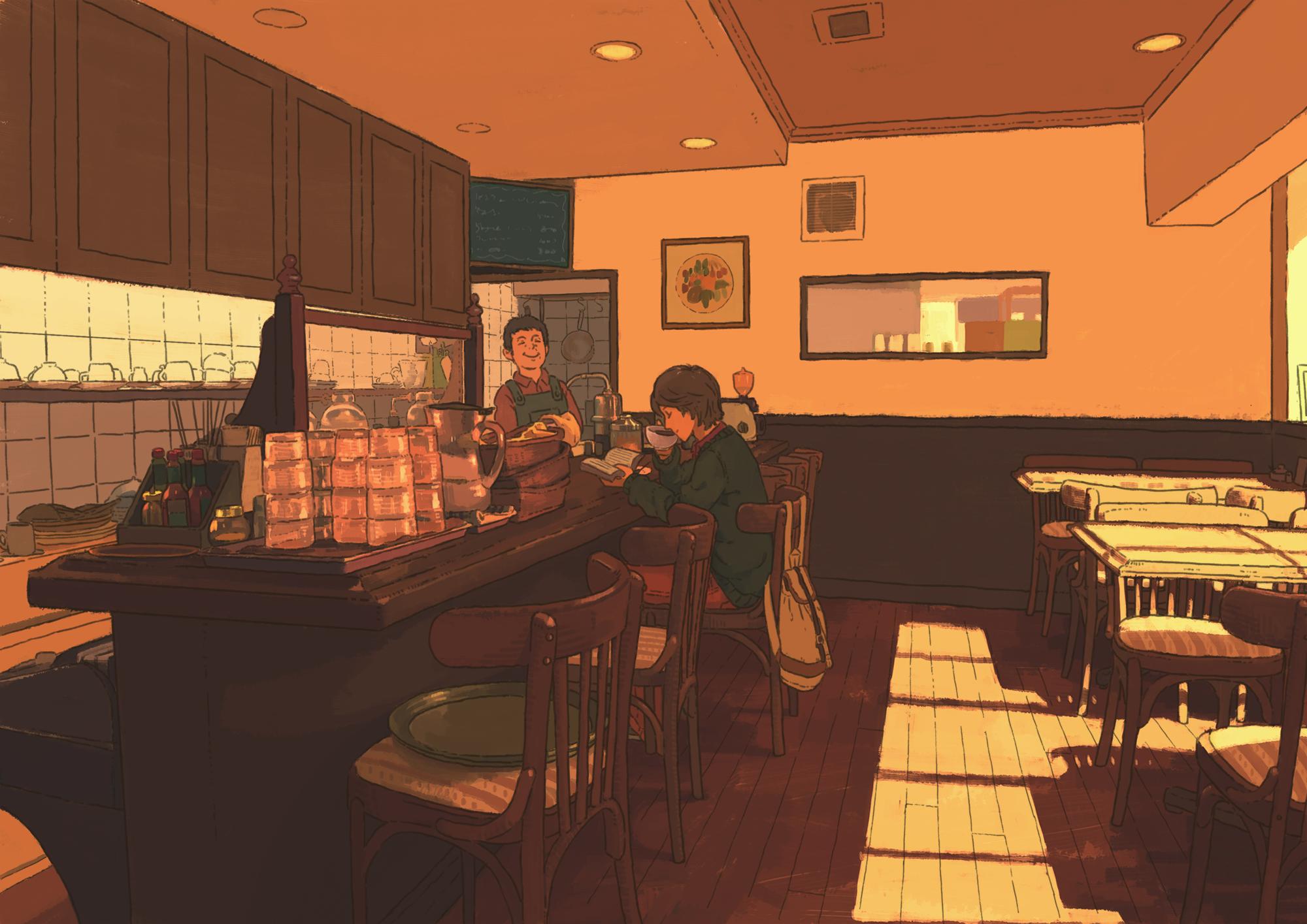 Wallpaper Japan Anime Room Restaurant Cafes Interior
