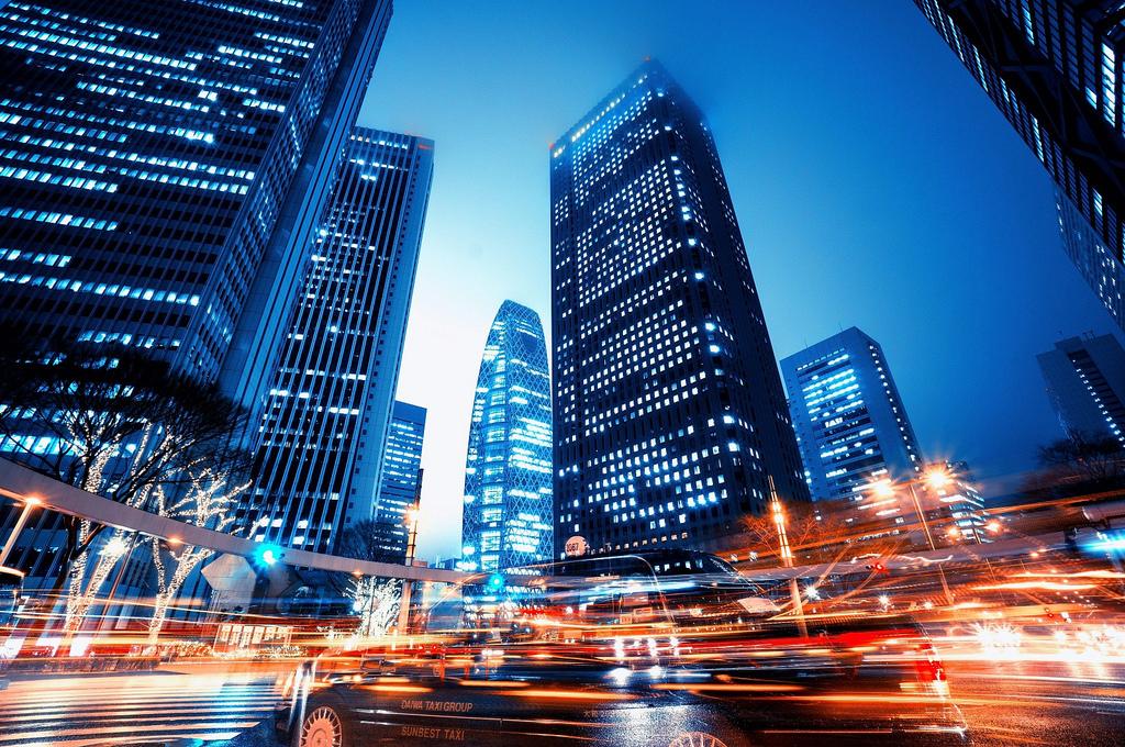 Fond d'écran : Japon, Paysage urbain, nuit, réflexion, des nuages, Horizon, Gratte-ciel, soir ...
