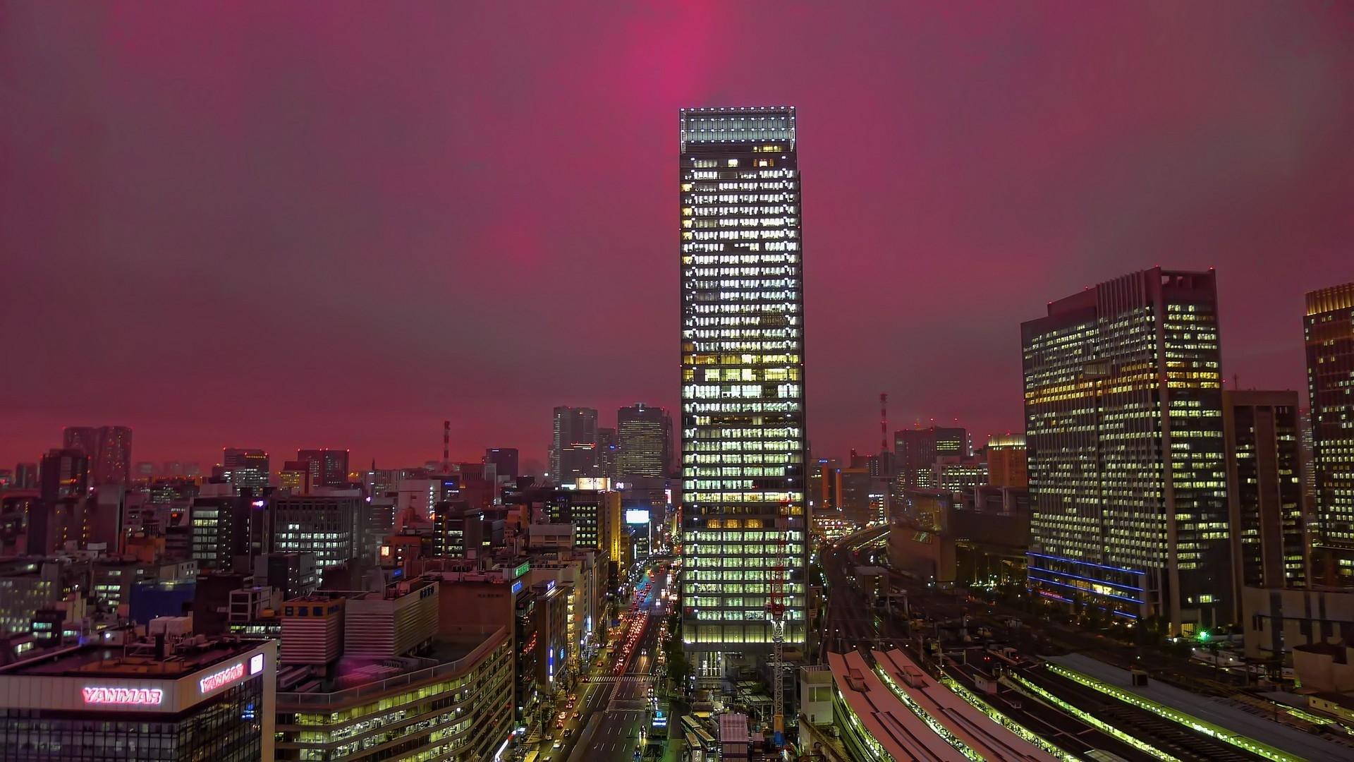 Japan City Cityscape Night Skyline Skyscraper Evening Tower Top View Horizon Dusk Metropolis Tokyo Downtown Landmark