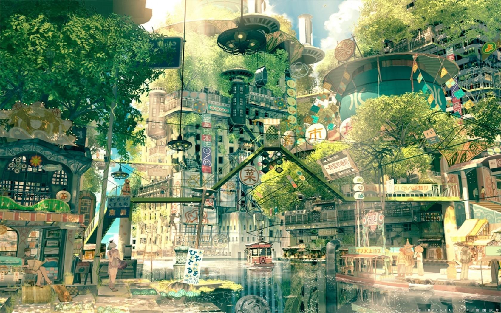 Fond d 39 cran japon dessin ville paysage urbain anime for La ville nature