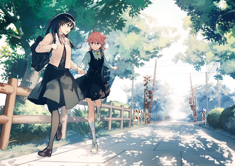 Wallpaper Jepang Pemandangan Ilustrasi Gadis Anime Siswi