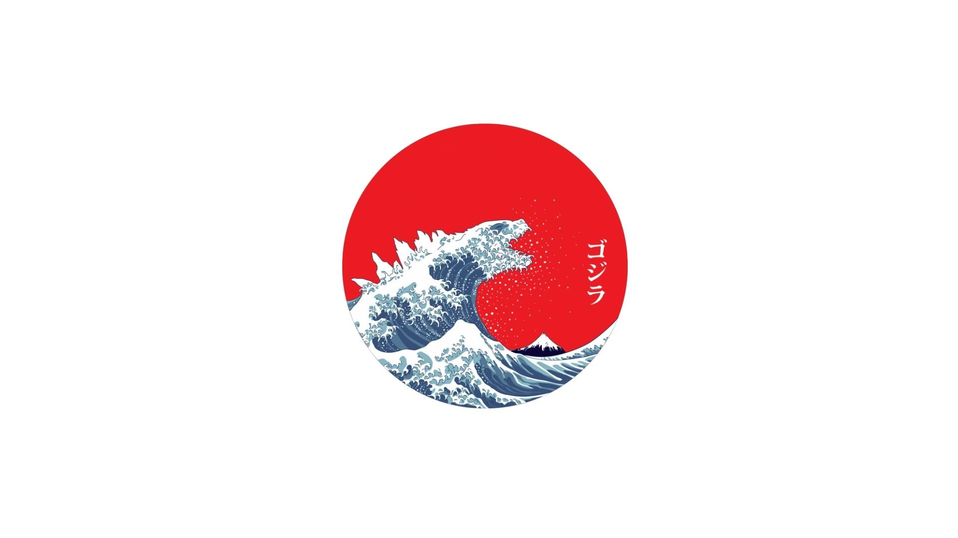 Wallpaper : Japan, minimalism, logo, waves, flag, circle ...