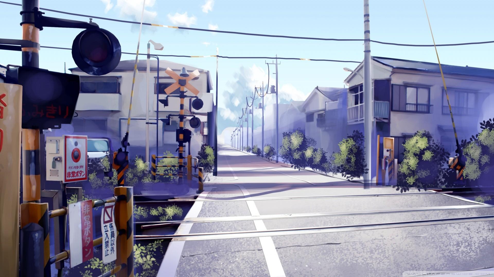 Wallpaper : Japan, street, anime, road, artwork, blue ...