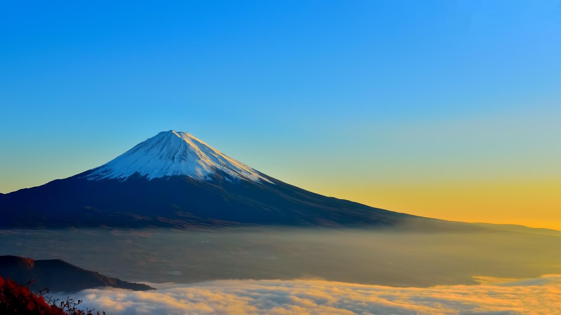 デスクトップ壁紙 日本 日光 富士山 丘 空 日の出 落ち着いた