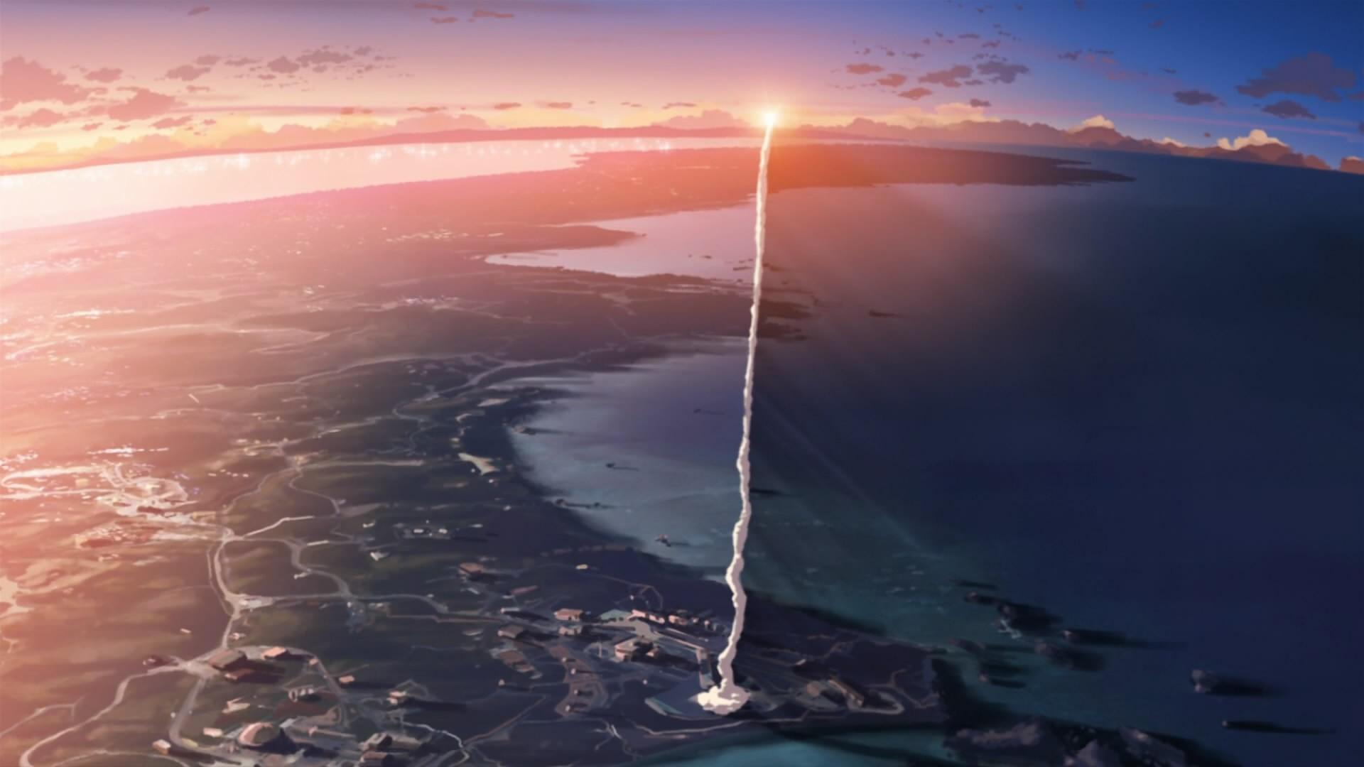 Sfondi Giappone Tramonto Mare Anime Riflessione Fumo Film Alba Costa Orizzonte Mantellina 5 Centimetri Al Secondo Artico Crepuscolo Razzo