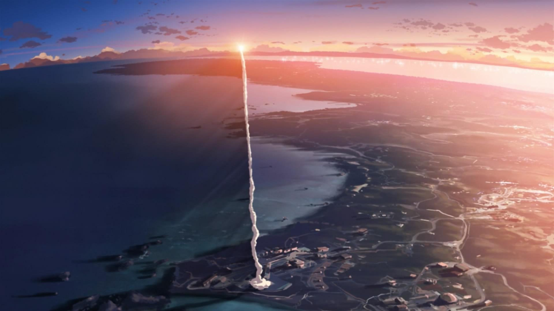 Wallpaper Japan Sunset Sea Anime Sky Smoke Movies Earth Sunrise Calm Coast Horizon 5 Centimeters Per Second Makoto Shinkai Contrails Screengrab Dawn Ocean Wave 1920x1080 Px Rockets Atmosphere Of Earth Aerial