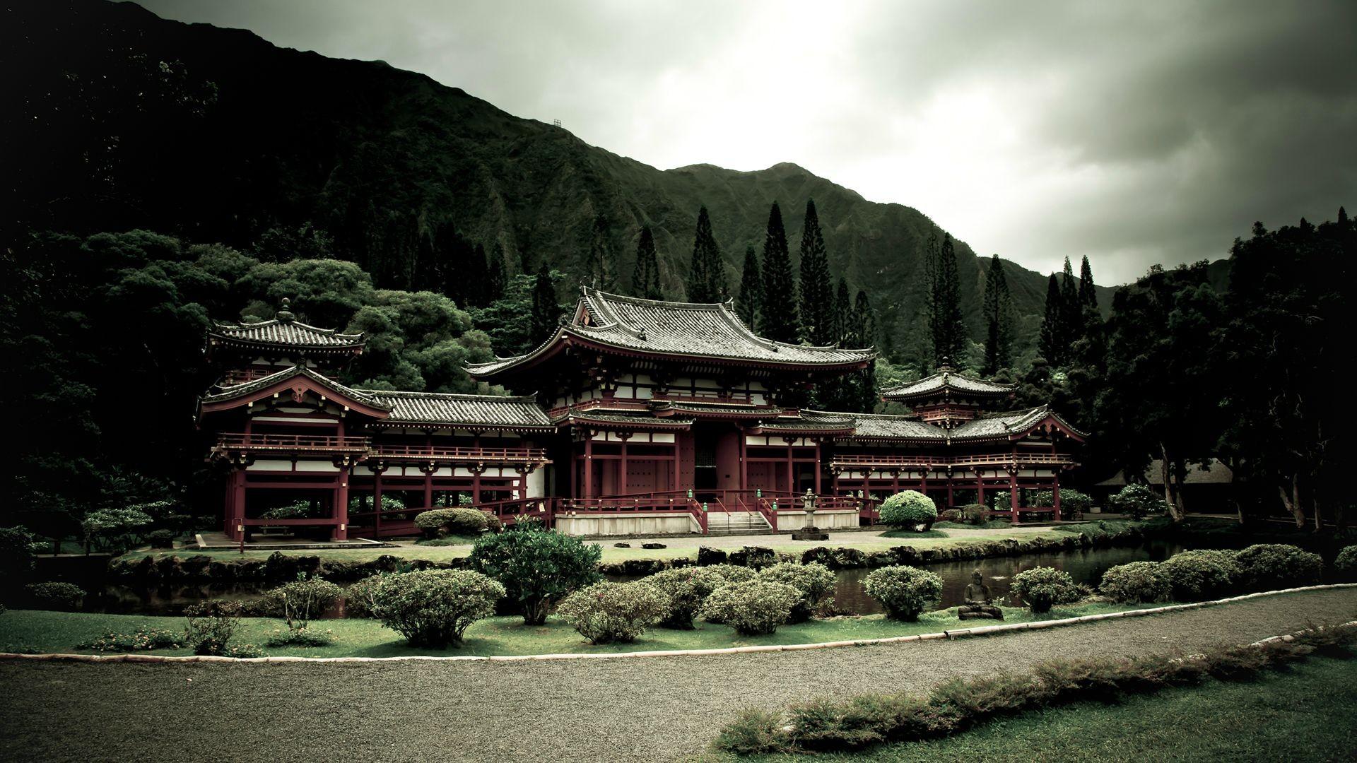 Wallpaper Japan Temple Trees Landscape Forest Mountains Garden Asian Architecture Lake Nature Building Sky Plants Clouds House Tourism