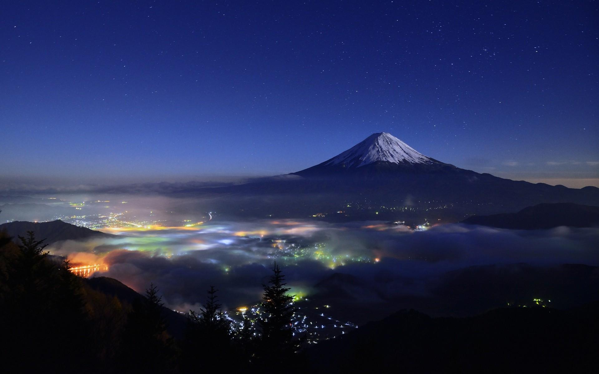 Wallpaper Japan Trees Landscape Lights Mountains