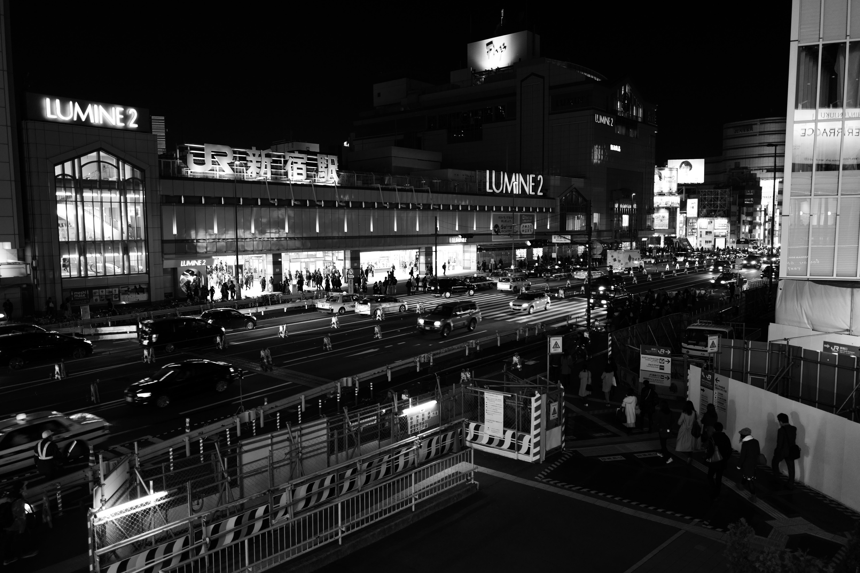 Japan white black monochrome city street cityscape night photography Leica  metropolis Tokyo Jp downtown bw shape