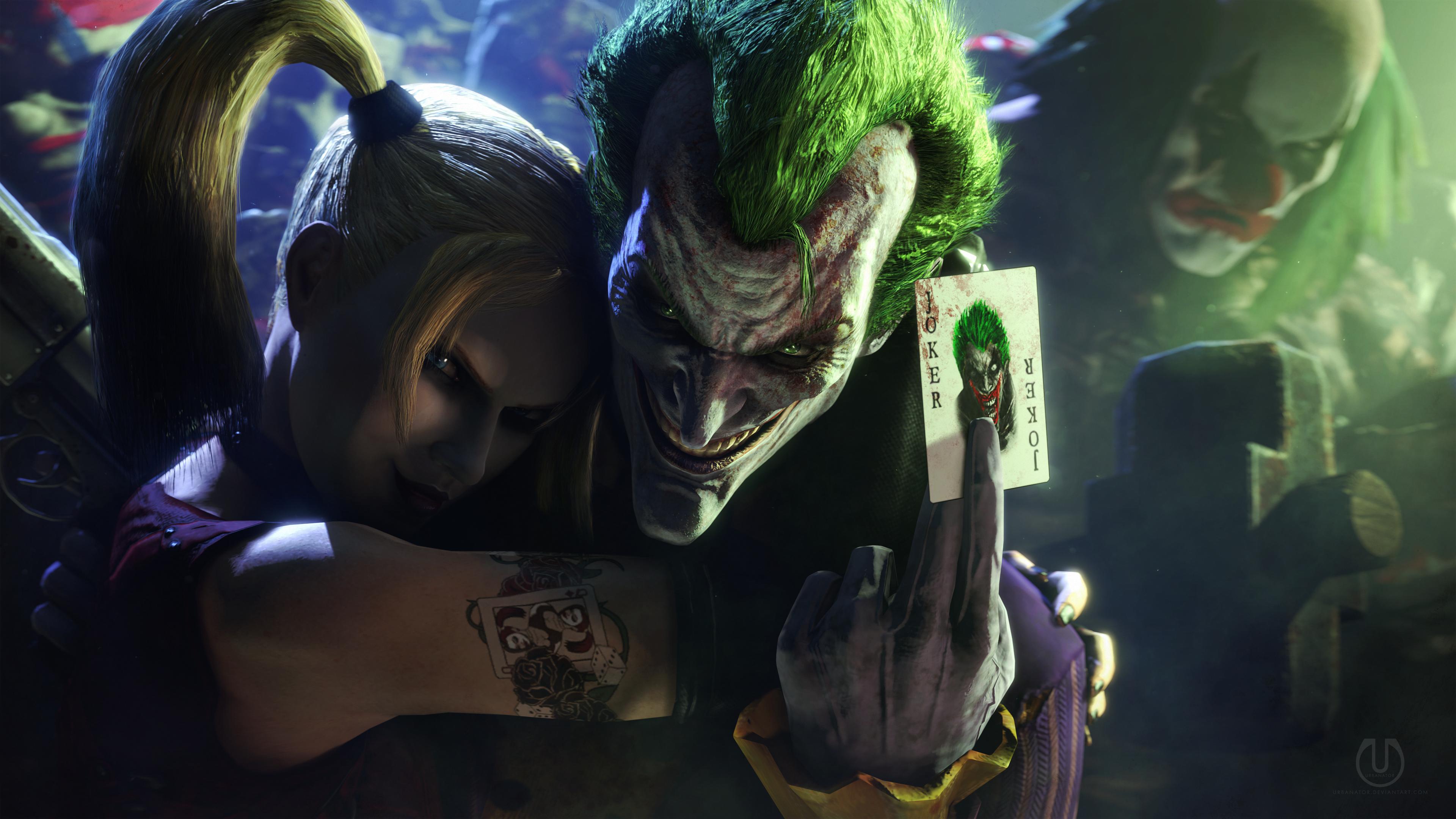 Wallpaper Joker Harley Quinn Clowns Batman Arkham City Video