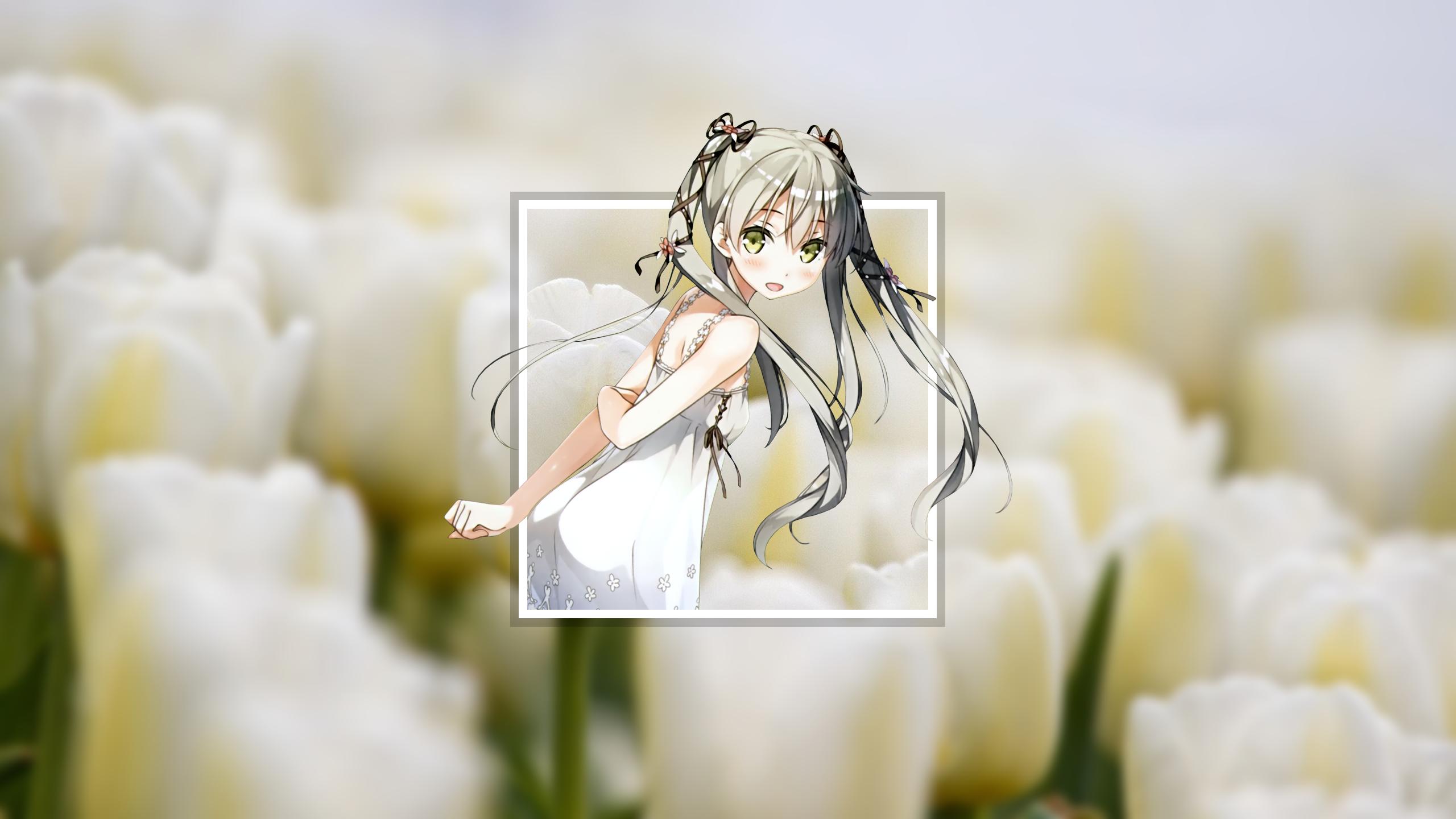 Fond Décran Kantoku Filles Anime Robe Blanche Fleurs