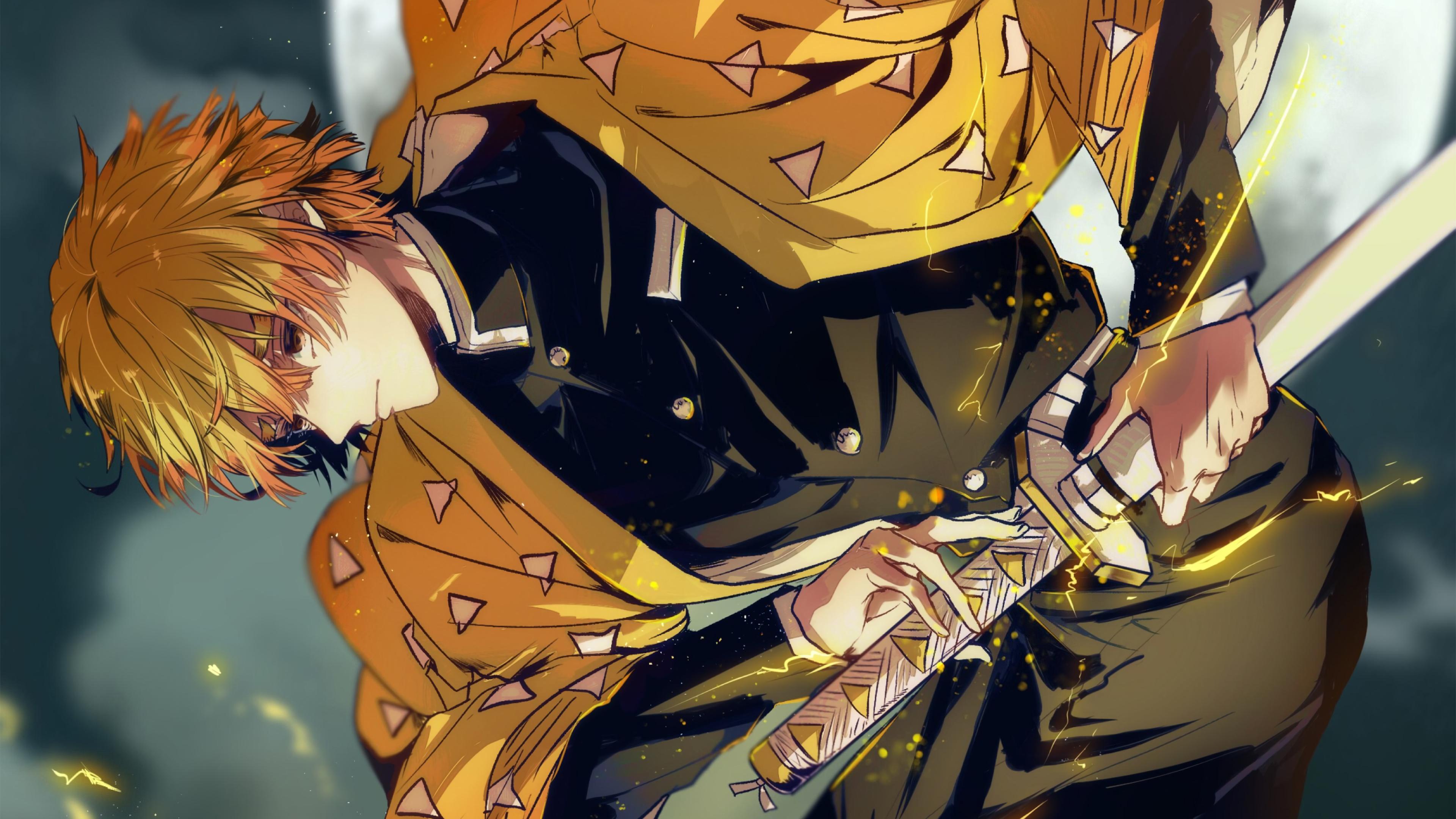 Wallpaper Kimetsu No Yaiba Zenitsu Agatsuma Anime 3840x2160 Midriffmadness 1692993 Hd Wallpapers Wallhere
