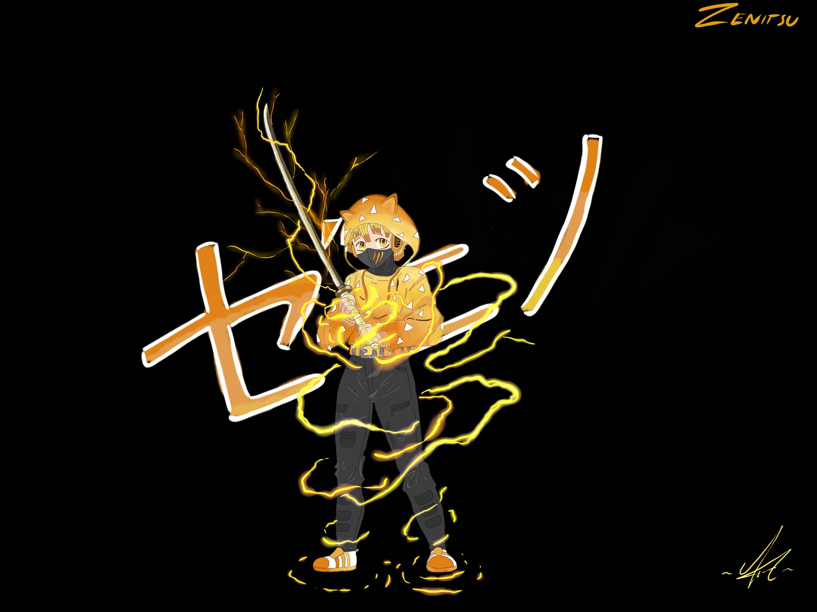Kimetsu no Yaiba orange lightning Japanese Art katana yellow 1842467