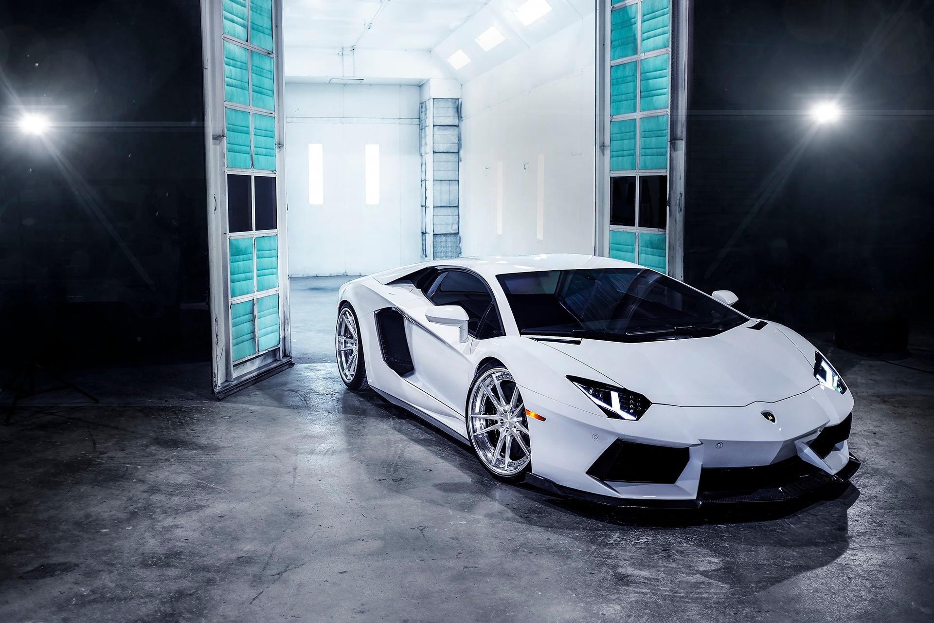 Lamborghini Aventador White Front View