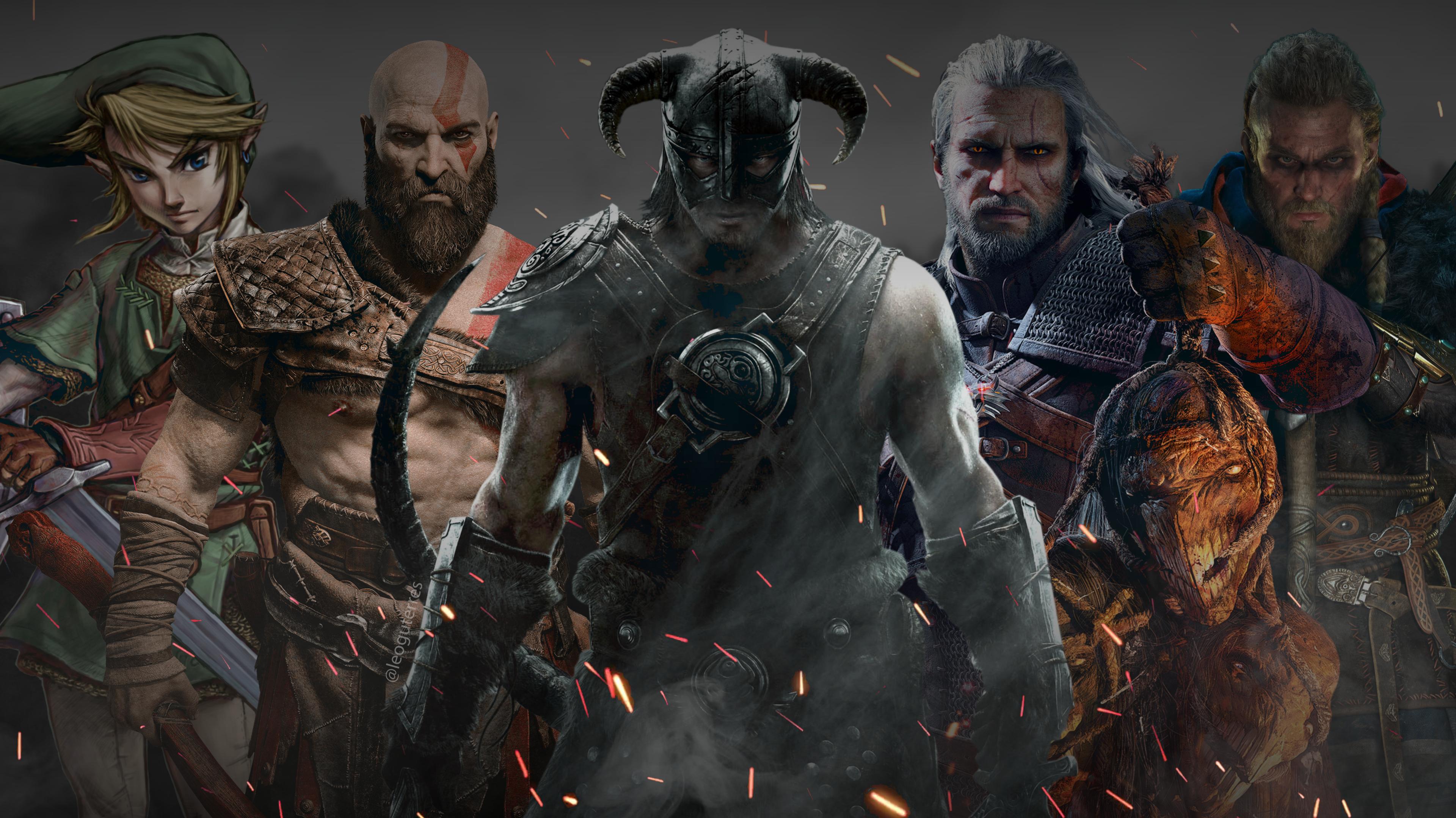 Wallpaper Link The Legend Of Zelda Kratos God Of War Skyrim