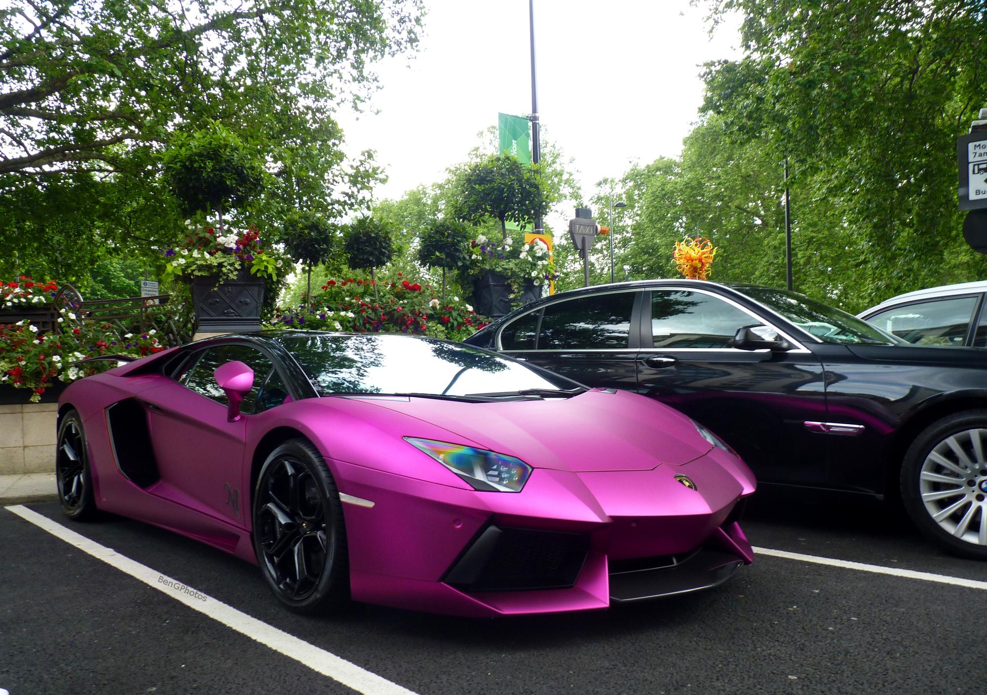 Wallpaper London Black Purple Lamborghini Aventador Sports Car