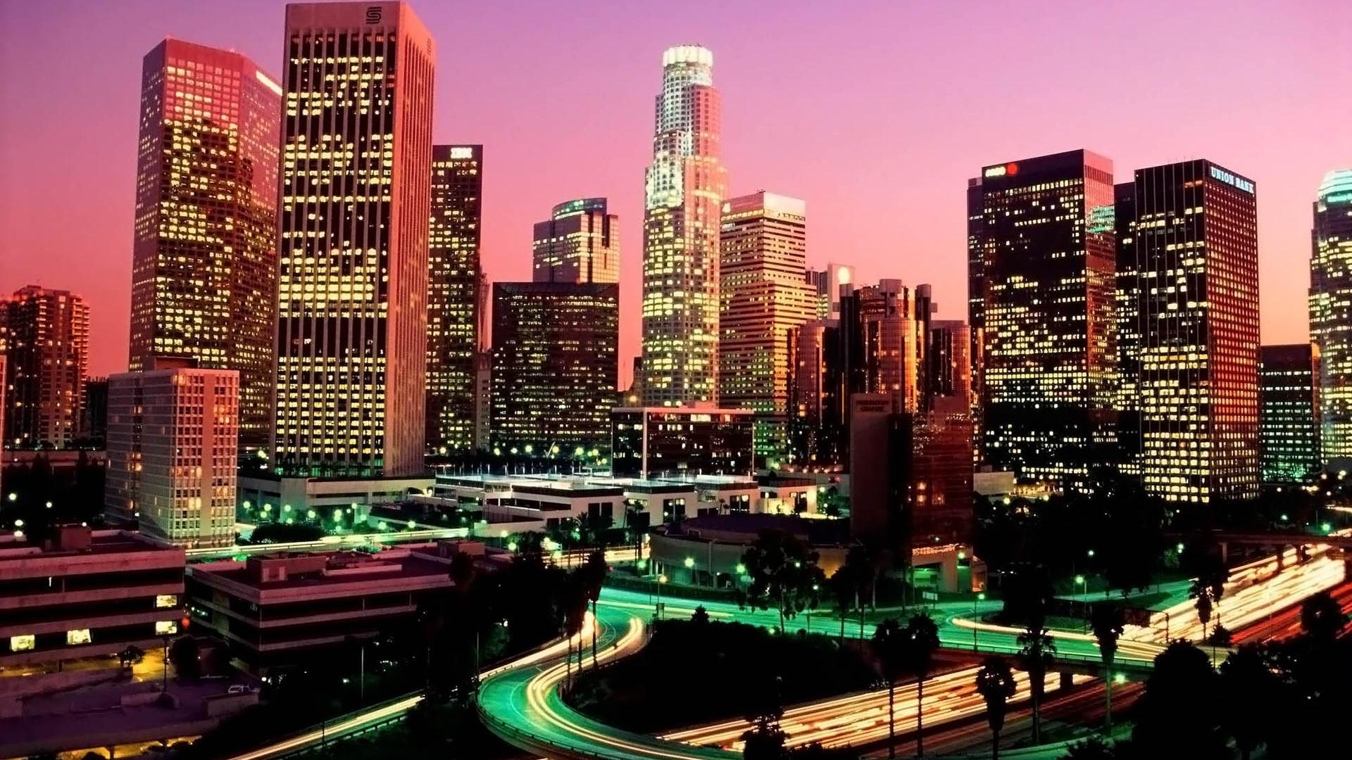Wallpaper Los Angeles Skyscrapers Night Road