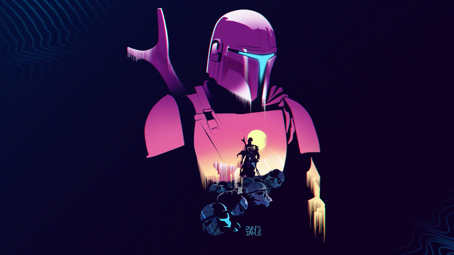 Mandalorians Star Wars cyberpunk futuristic cyber artwork punk Baby Yoda tv series PanosStamo pink orange stormtrooper 1829781