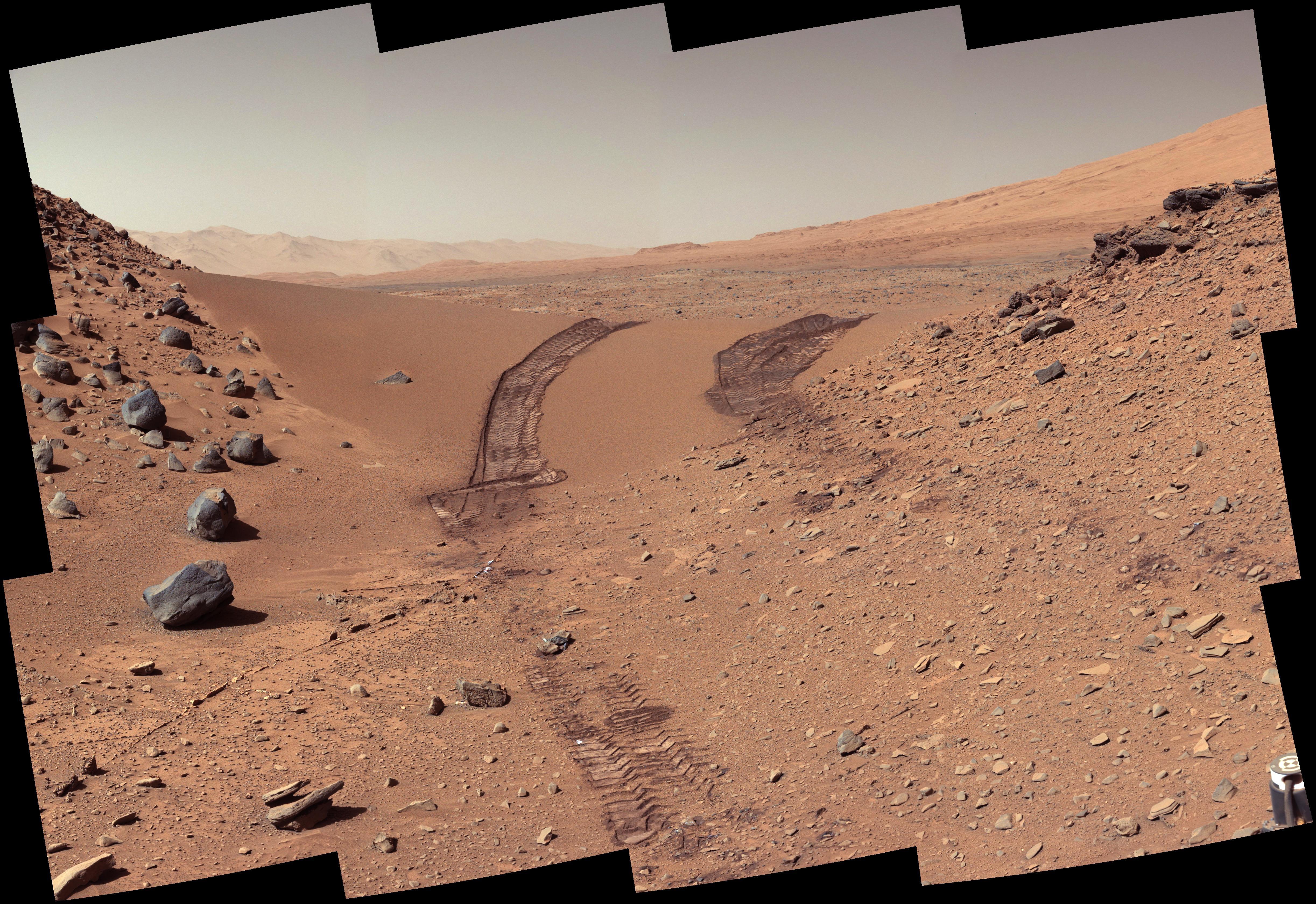 壁纸 火星 景观 红 轮胎轨道 好奇心4890x3361
