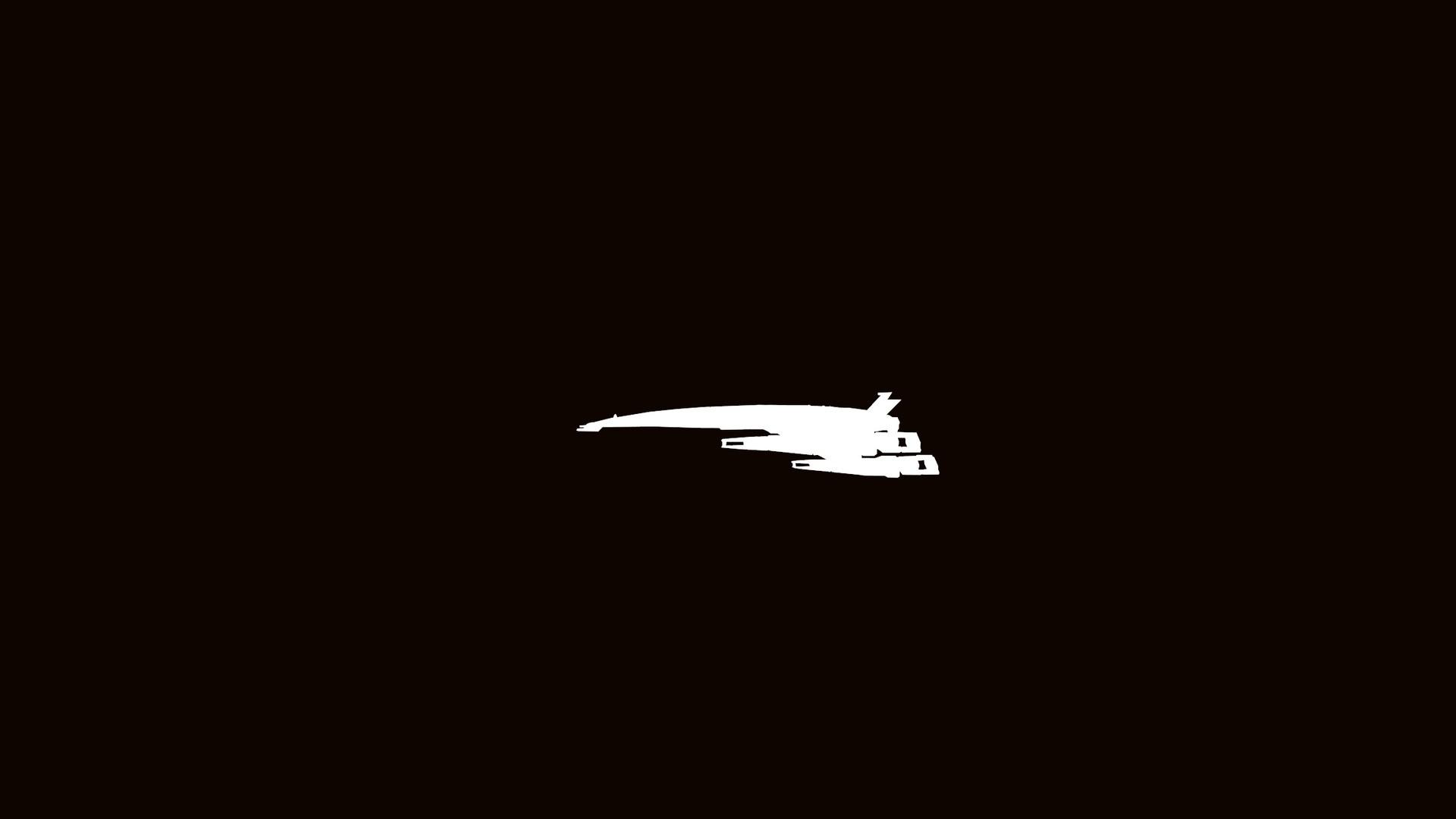 Mass Effect minimalism vehicle dark background airplane aircraft logo simple darkness wing 2 screenshot 1920x1080 px