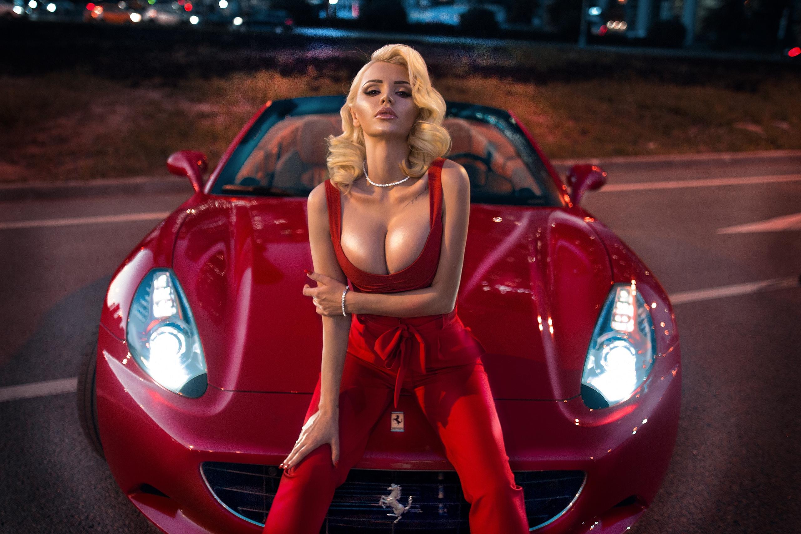 Max Sokolovich women model women with cars car Ferrari outdoors depth of  field blonde looking at a57bd03819