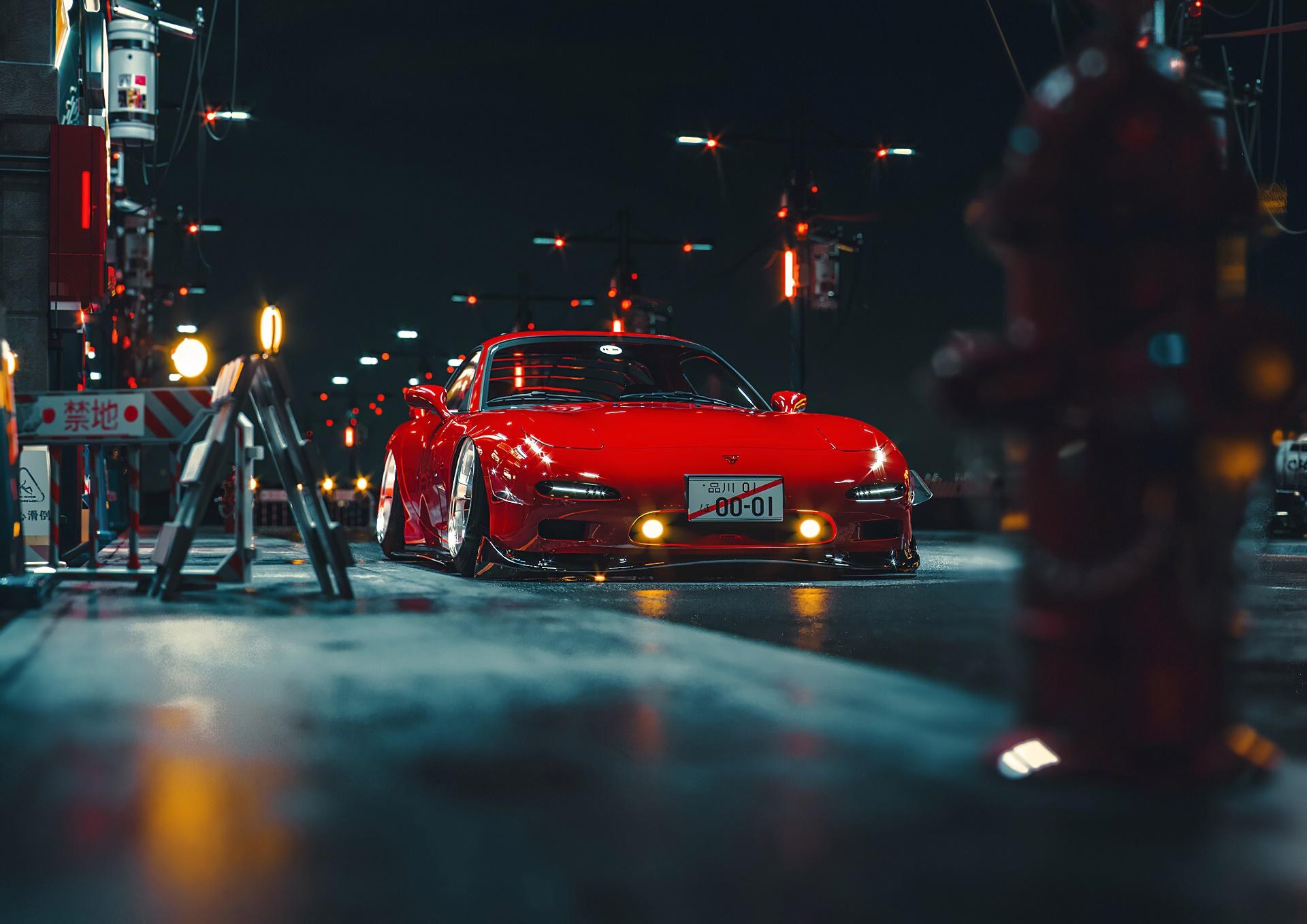 Wallpaper : Mazda RX 7, car, night, vehicle, red cars ...