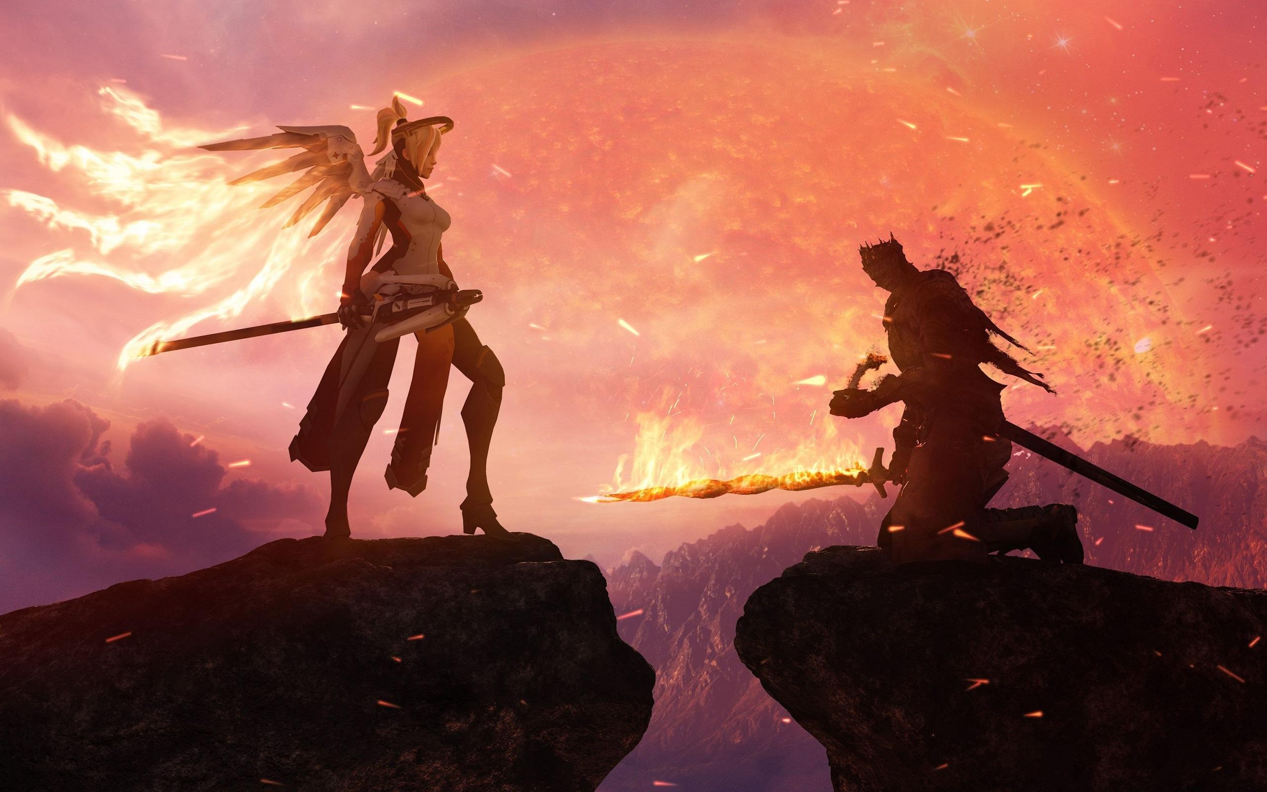 Wallpaper Mercy Overwatch Dark Souls Crossover Video
