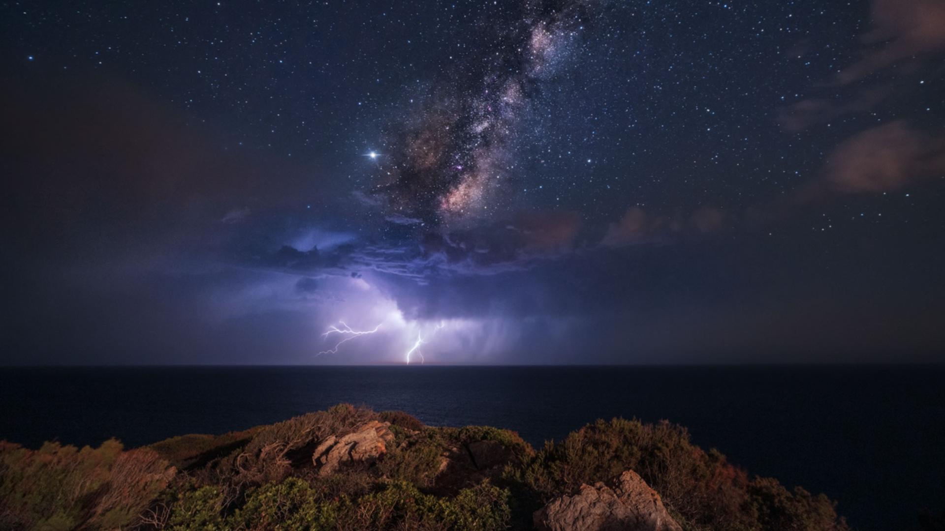 デスクトップ壁紙 天の川 嵐 風景 空 ライトニング 自然 星