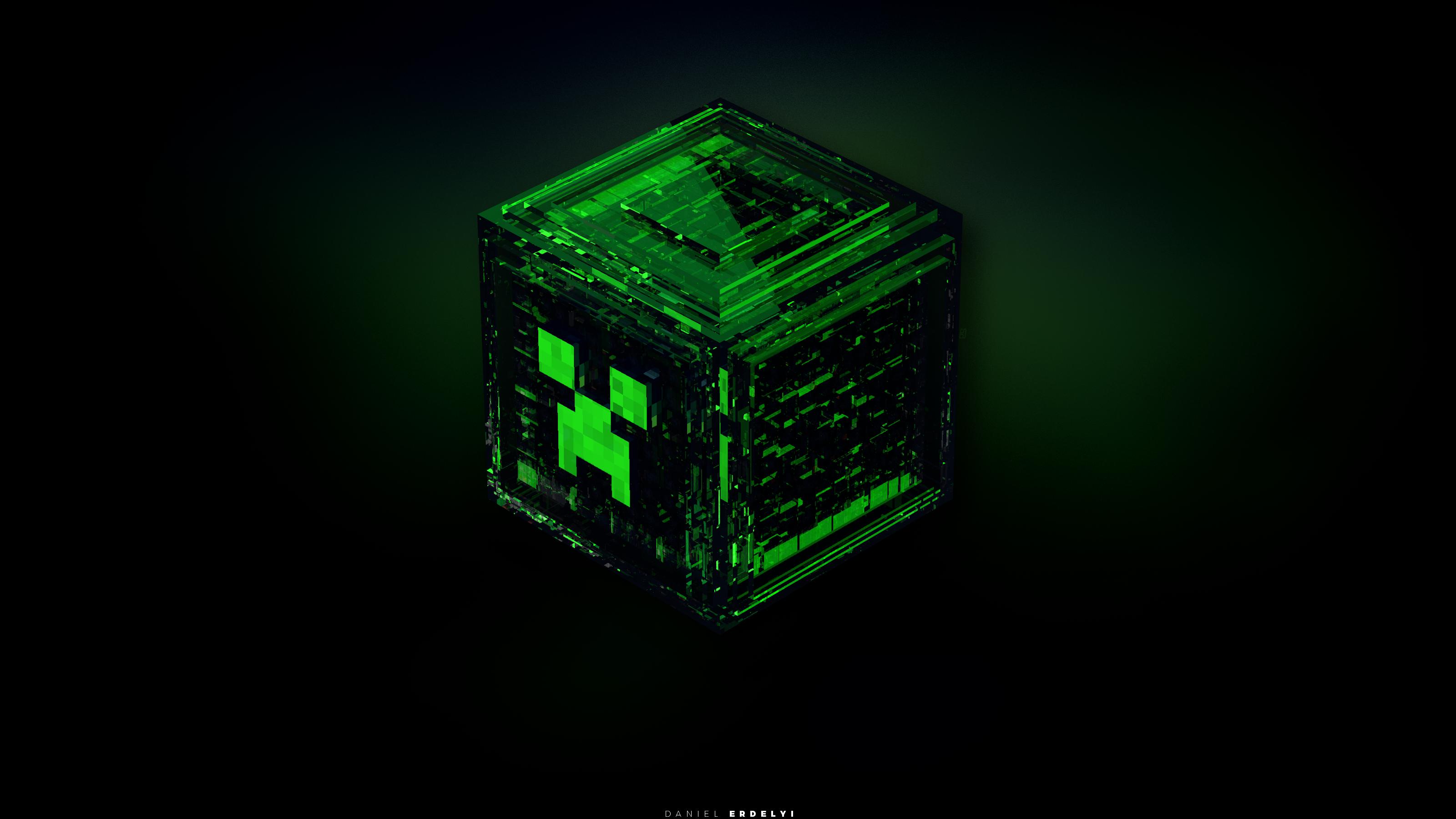 Minecraft green creeper emerald ore lighting shape darkness jewellery number games screenshot computer wallpaper font indoor