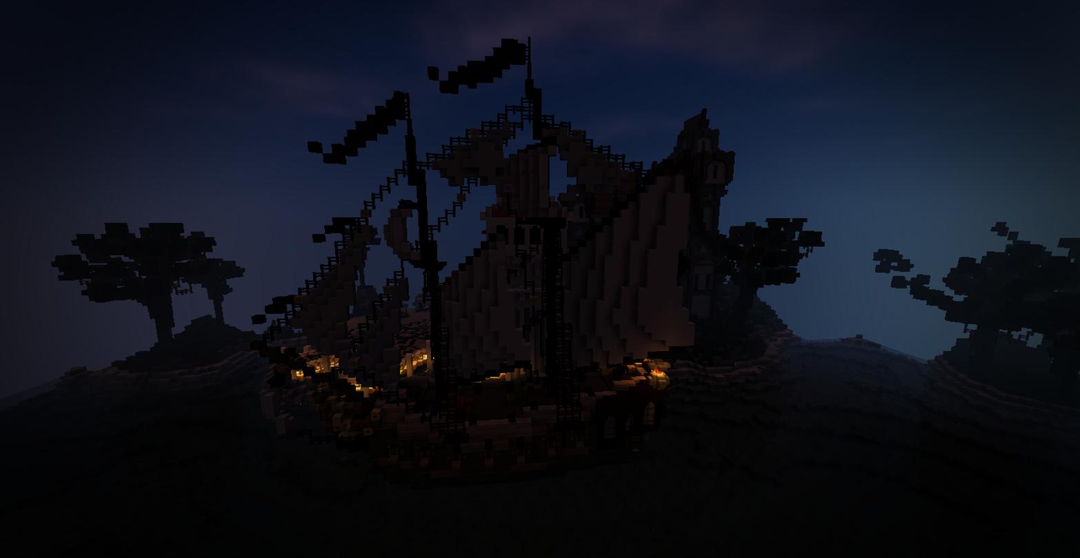 Hintergrundbilder Minecraft Seeschwamm Nacht Schiff