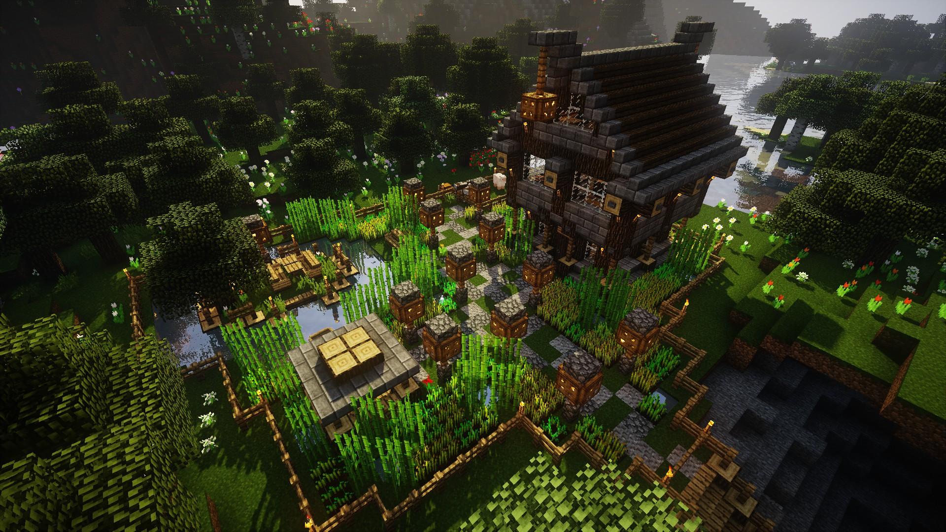 Fondos De Pantalla Minecraft Videojuegos Granja Casa