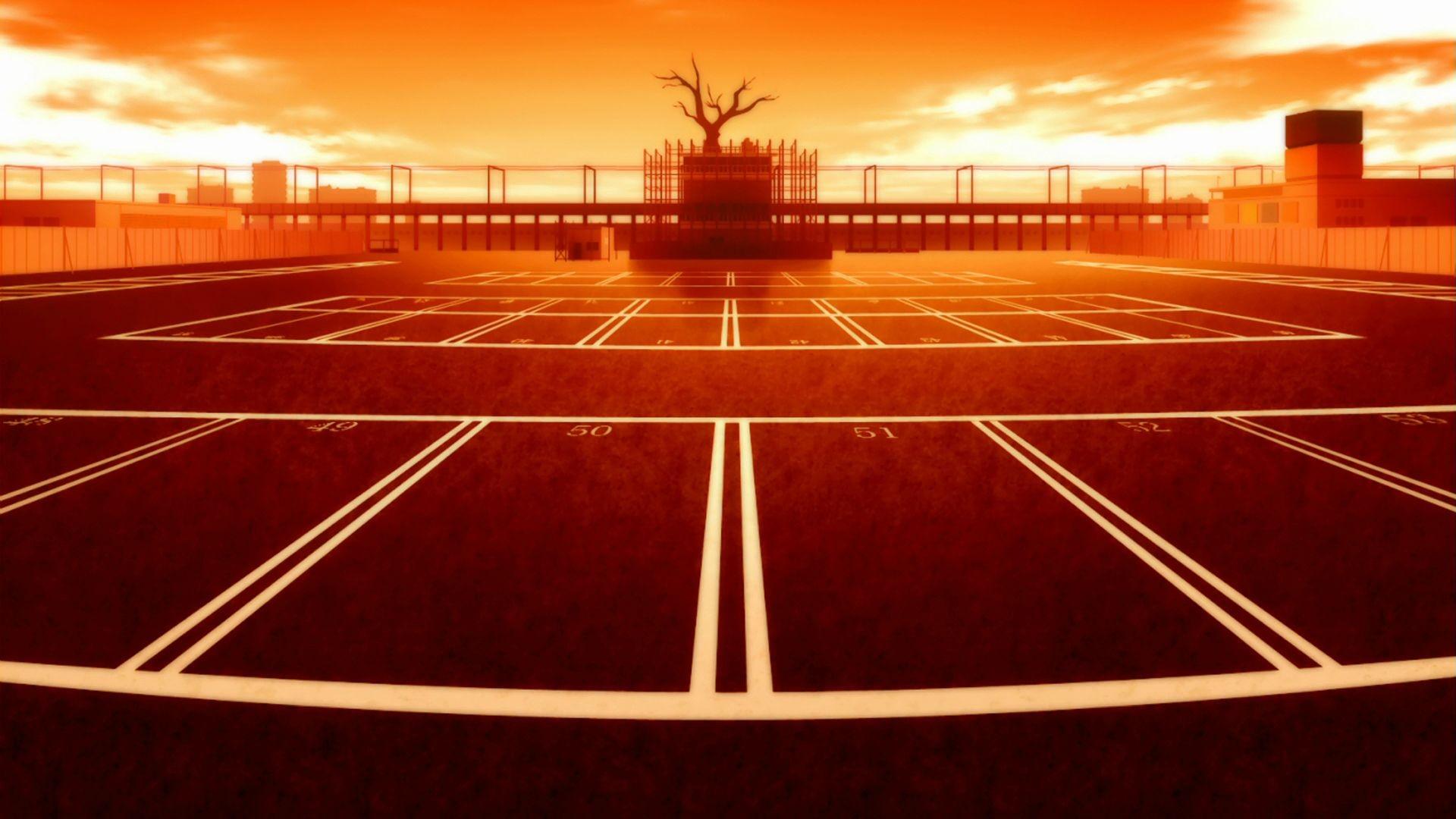 Wallpaper monogatari series anime tennis court - Court wallpaper ...