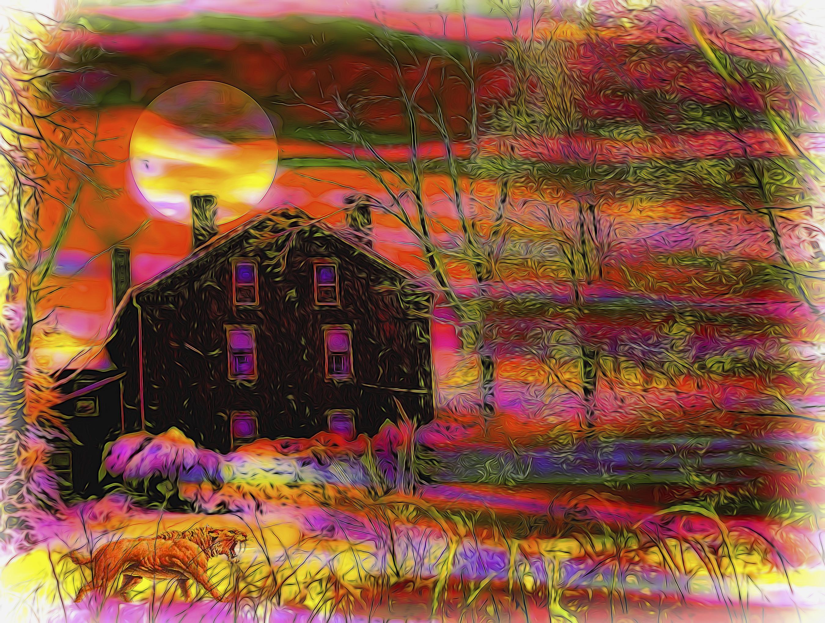 Wallpaper : Moon, House, Color, Tree, Google, Photoshop