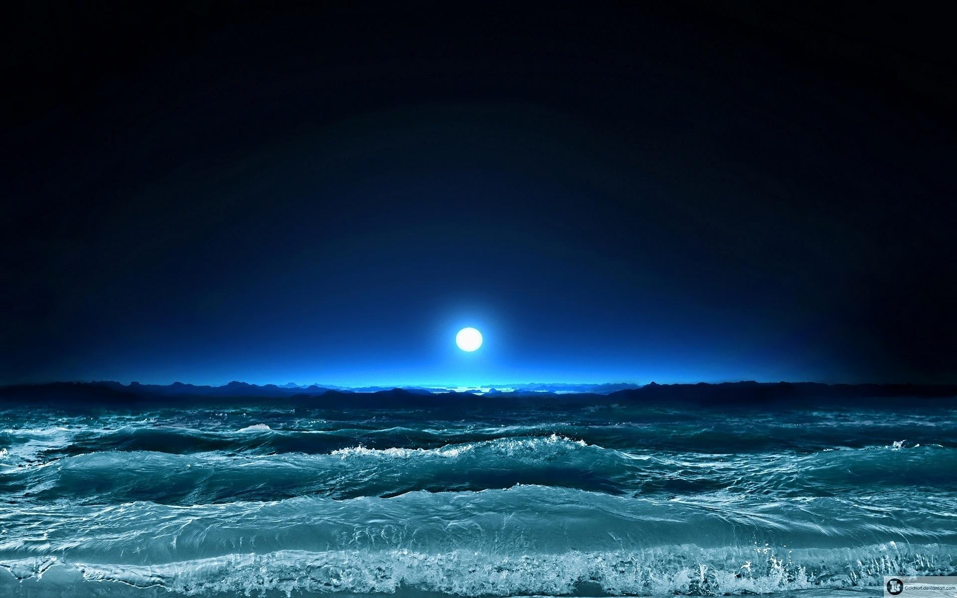 fondos de pantalla luna ligero mar noche olas art