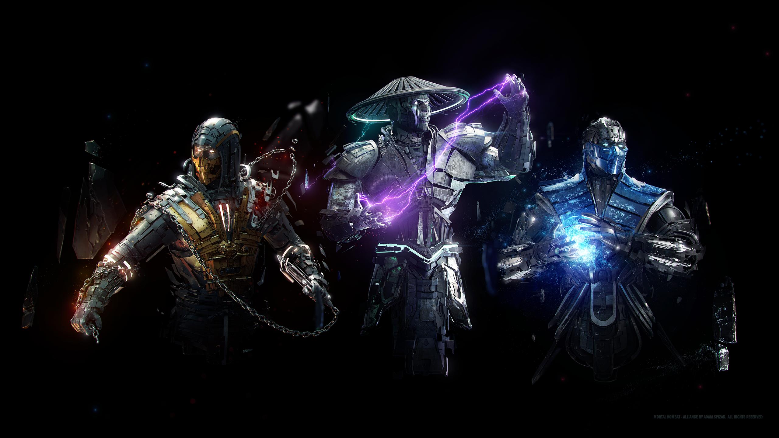 Wallpaper Mortal Kombat Raiden Sub Zero Scorpion 2560x1440