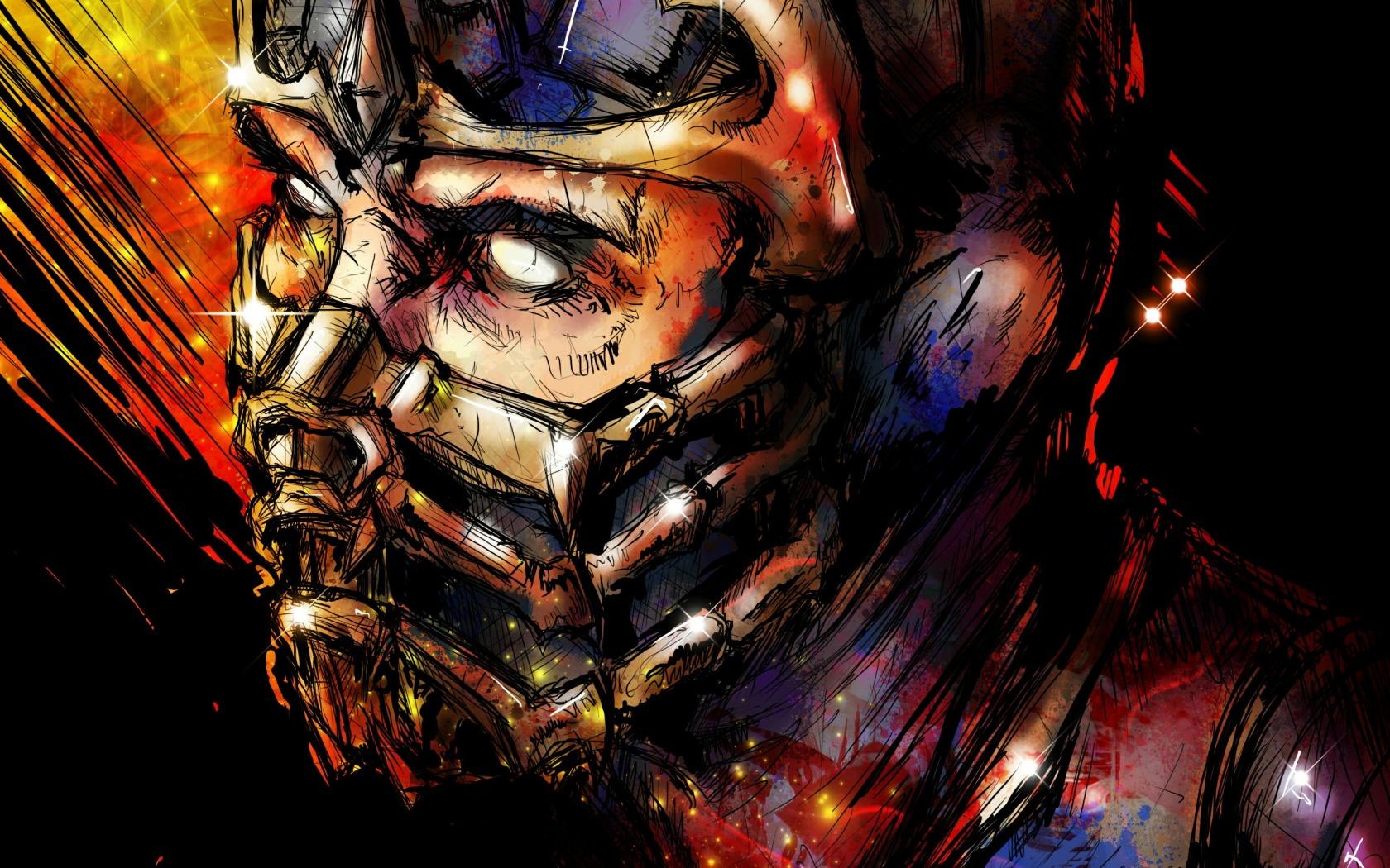 Wallpaper Mortal Kombat Scorpion Art Face Mask 1680x1050