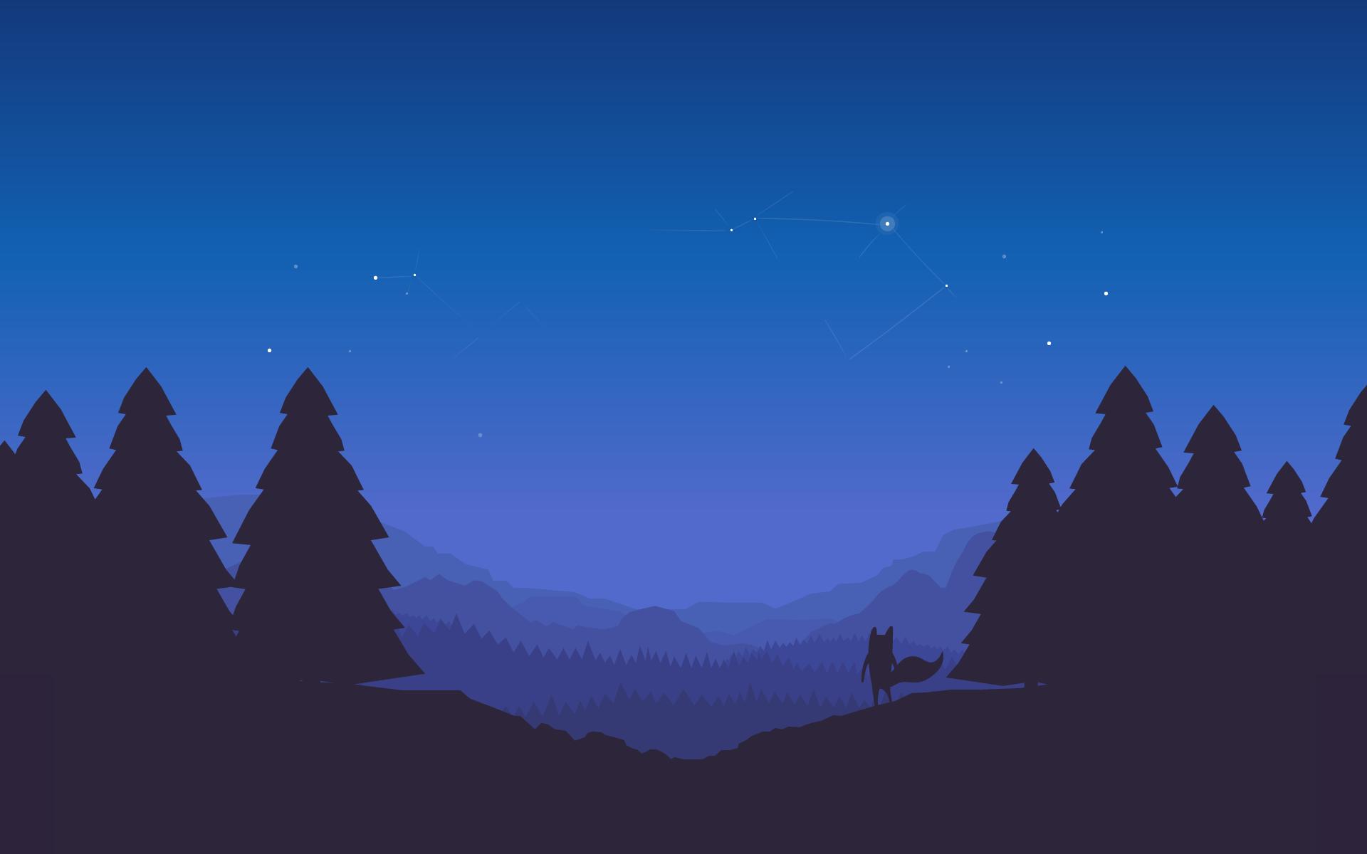 wallpaper : mozilla firefox, night, forest, landscape, horizon