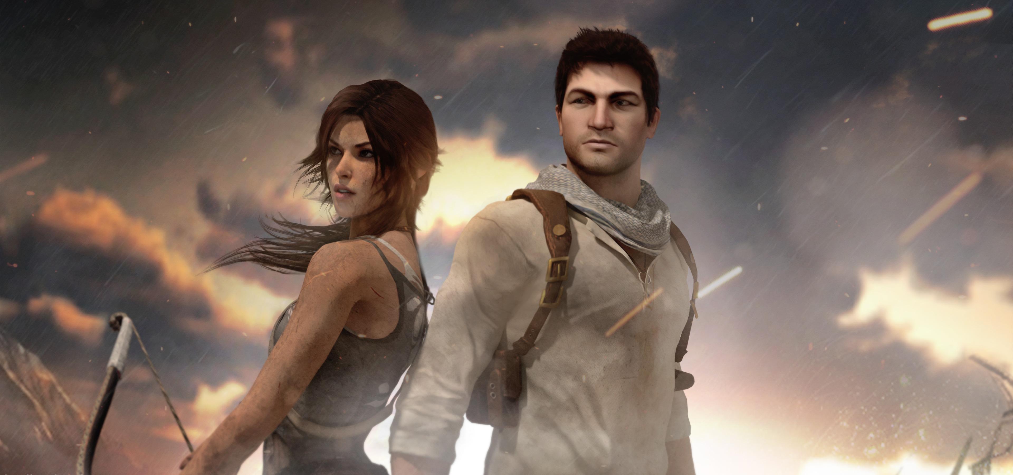 Wallpaper Nathan Drake Lara Croft Tomb Raider Uncharted