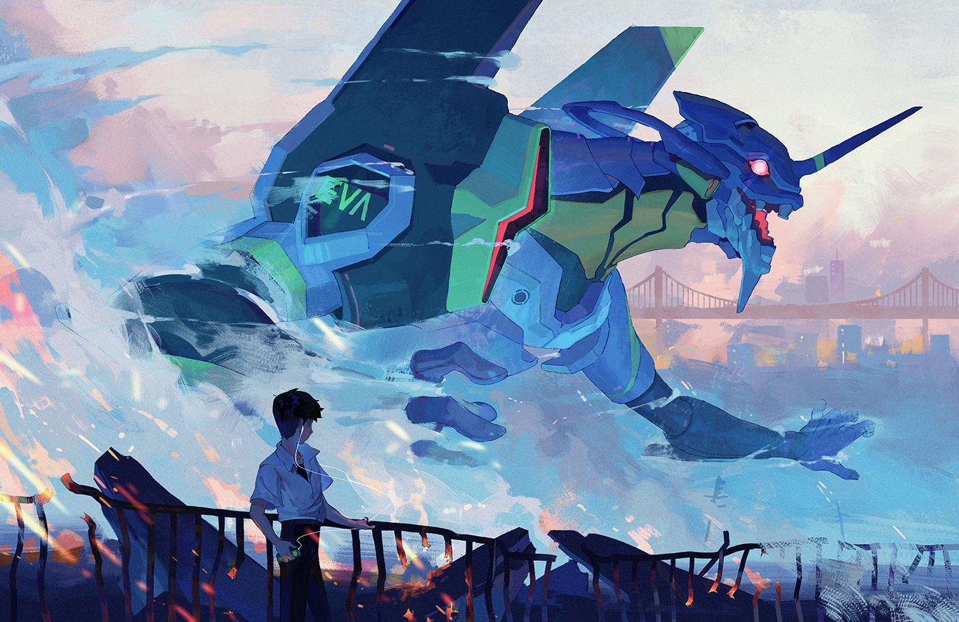 Wallpaper Neon Genesis Evangelion Mech Eva Unit 01