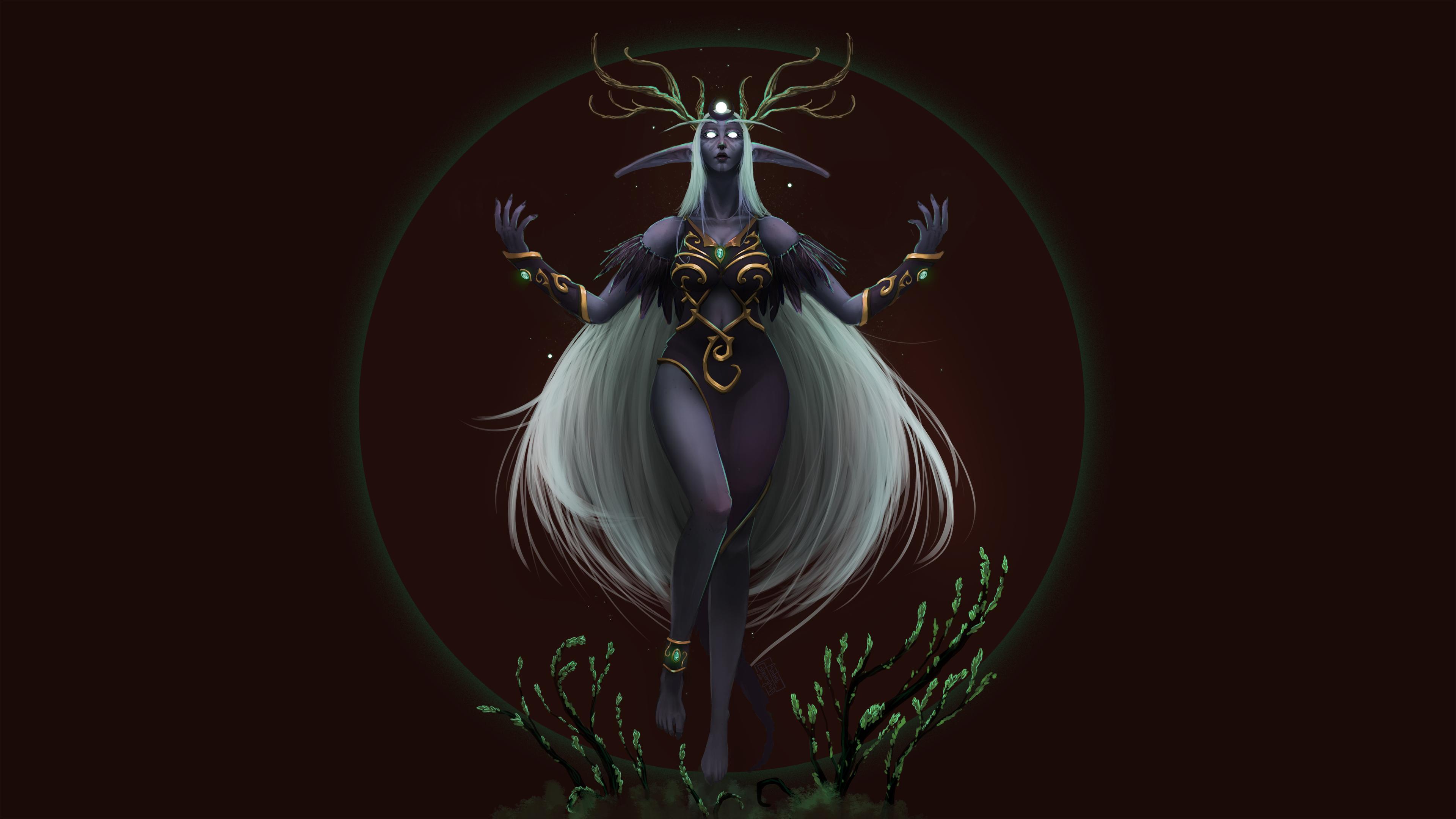 Wallpaper Night Elves World Of Warcraft Druid Fantasy Art